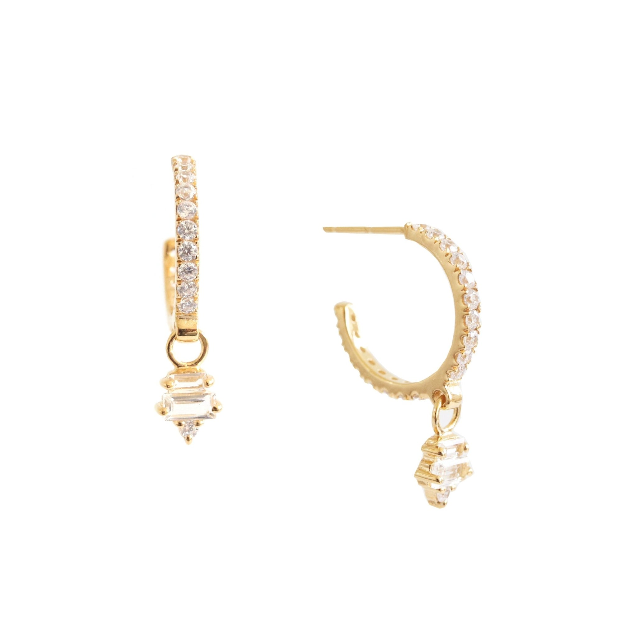 Loyal Huggie Dangle Hoops - White Topaz, Cubic Zirconia & Gold - SO PRETTY CARA COTTER