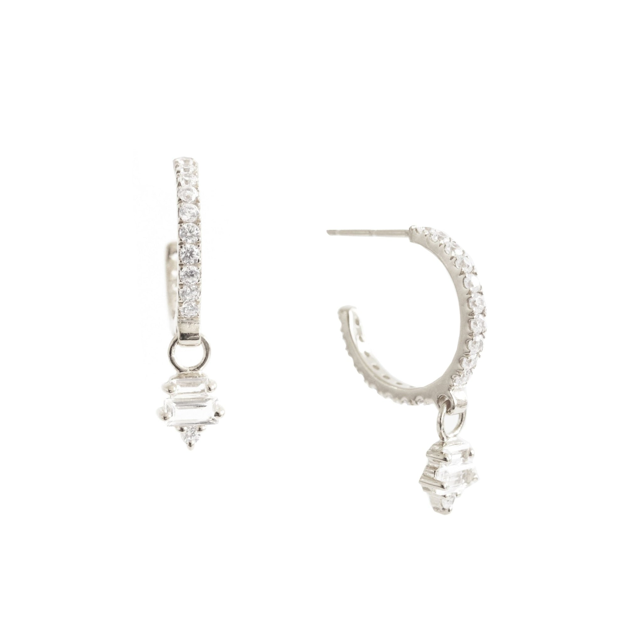 Loyal Huggie Dangle Hoops - White Topaz, Cubic Zirconia & Silver - SO PRETTY CARA COTTER