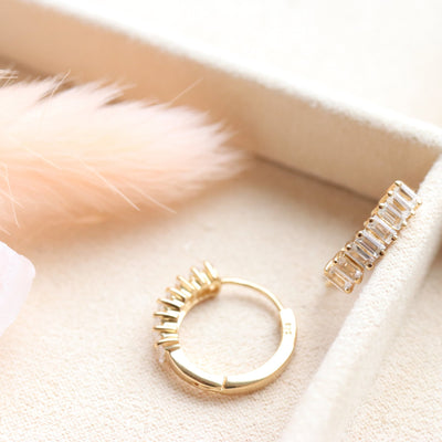 LOYAL HUGGIE HOOPS - WHITE TOPAZ & GOLD - SO PRETTY CARA COTTER