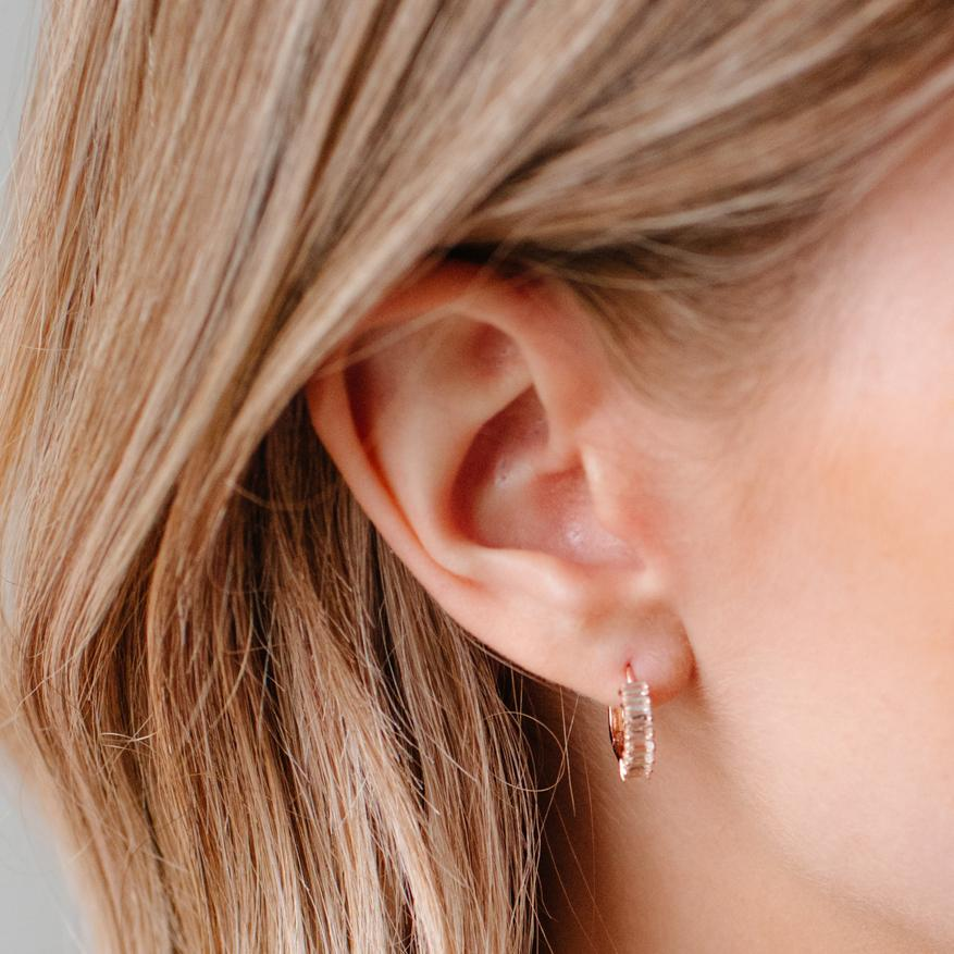 LOYAL HUGGIE HOOPS - WHITE TOPAZ & ROSE GOLD - SO PRETTY CARA COTTER