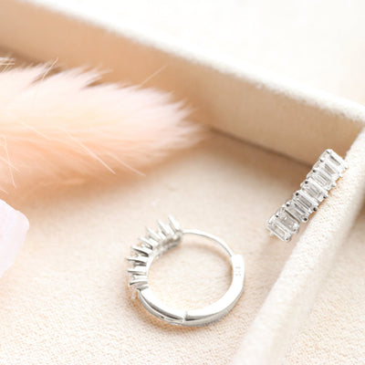 LOYAL HUGGIE HOOPS - WHITE TOPAZ & SILVER - SO PRETTY CARA COTTER