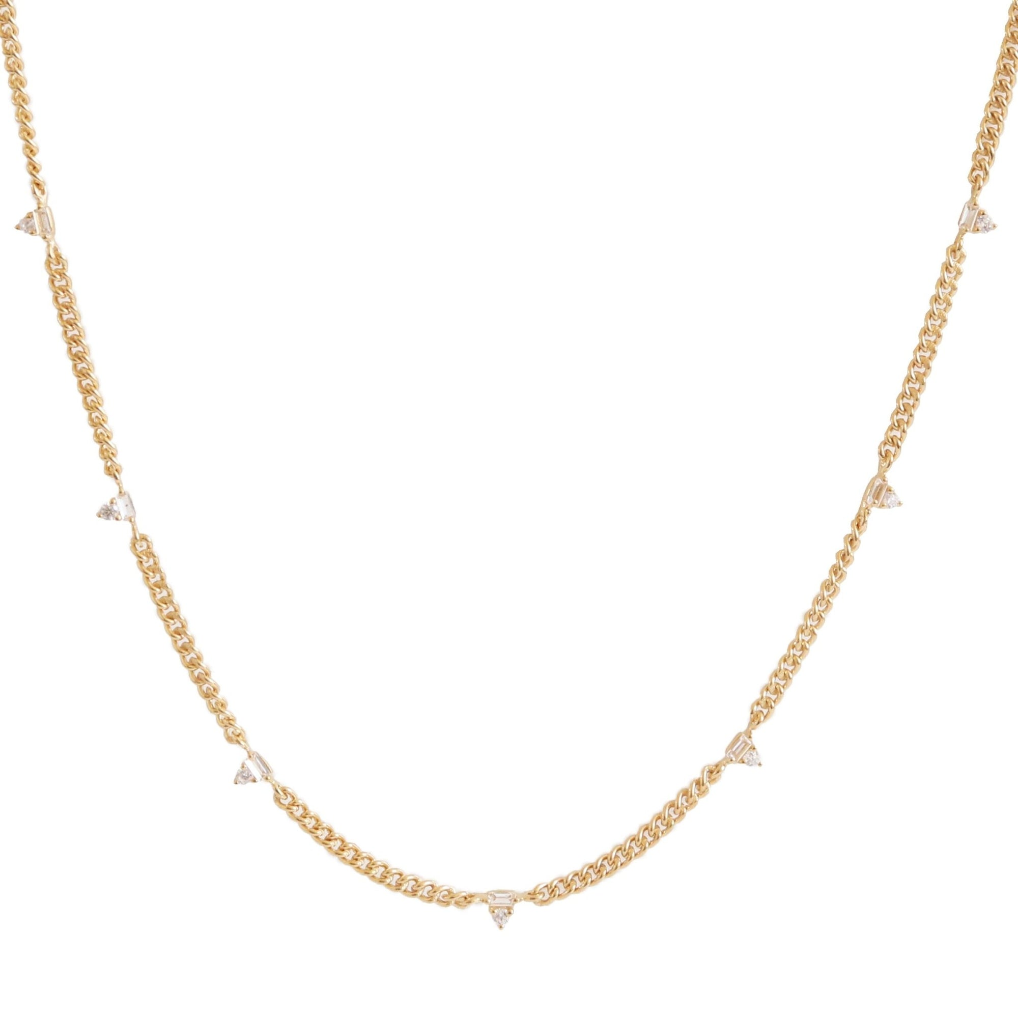Loyal Prism Curb Link Necklace - White Topaz, Cubic Zirconia & Gold - SO PRETTY CARA COTTER