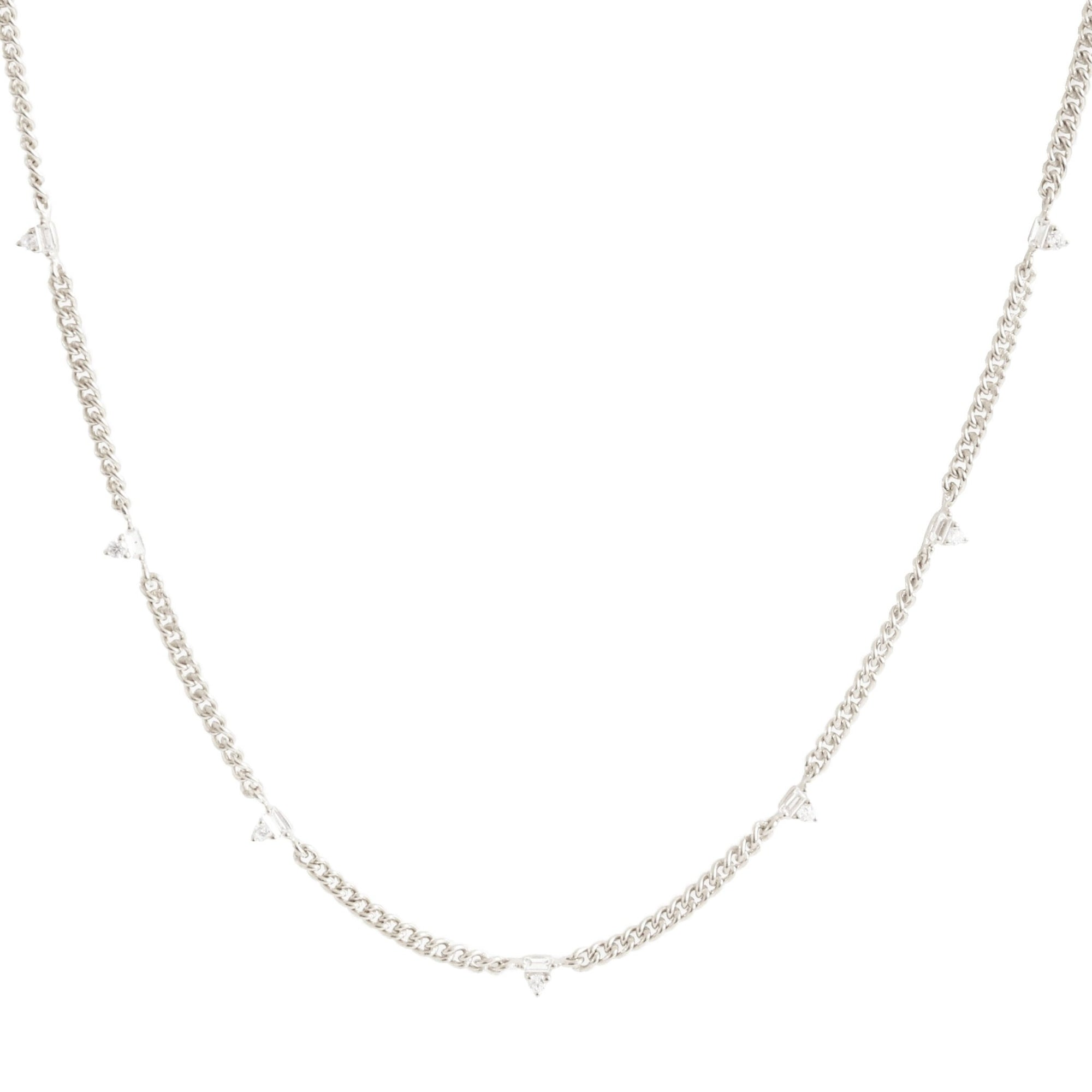 Loyal Prism Curb Link Necklace - White Topaz, Cubic Zirconia & Silver - SO PRETTY CARA COTTER