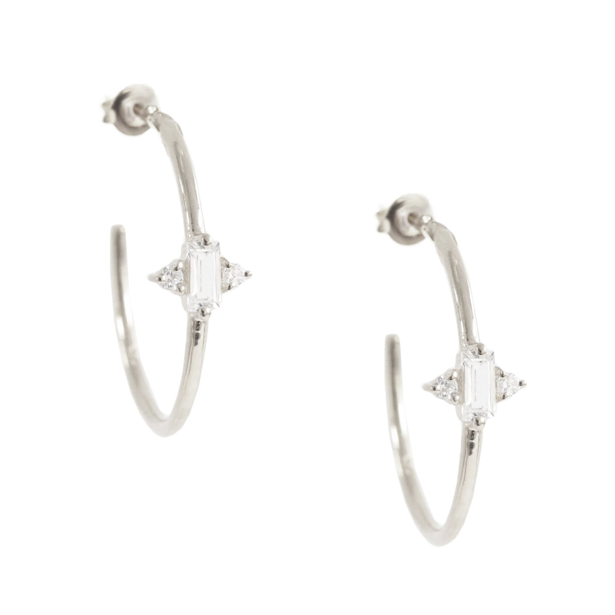 Loyal Prism Hoops - White Topaz, Cubic Zirconia & Silver - SO PRETTY CARA COTTER