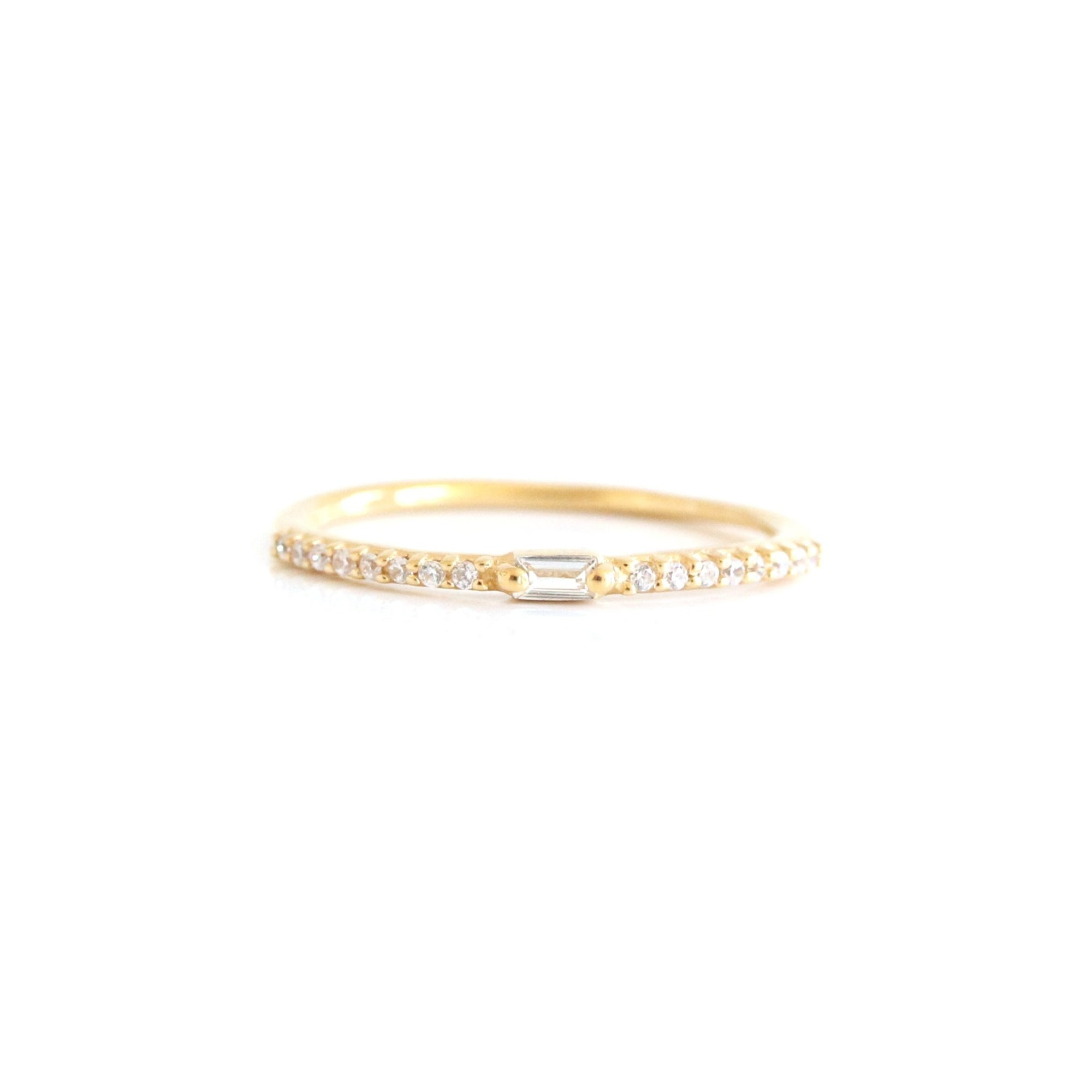 Loyal Prism Stacking Ring - White Topaz & Gold - SO PRETTY CARA COTTER