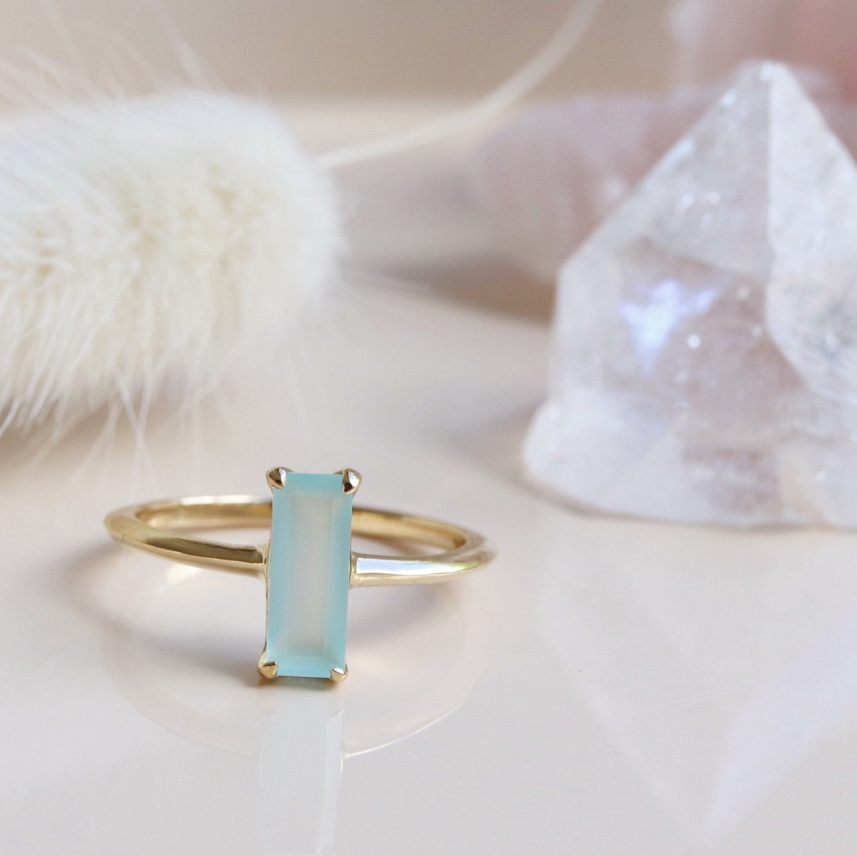 LOYAL RING AQUA CHALCEDONY & GOLD - SO PRETTY CARA COTTER
