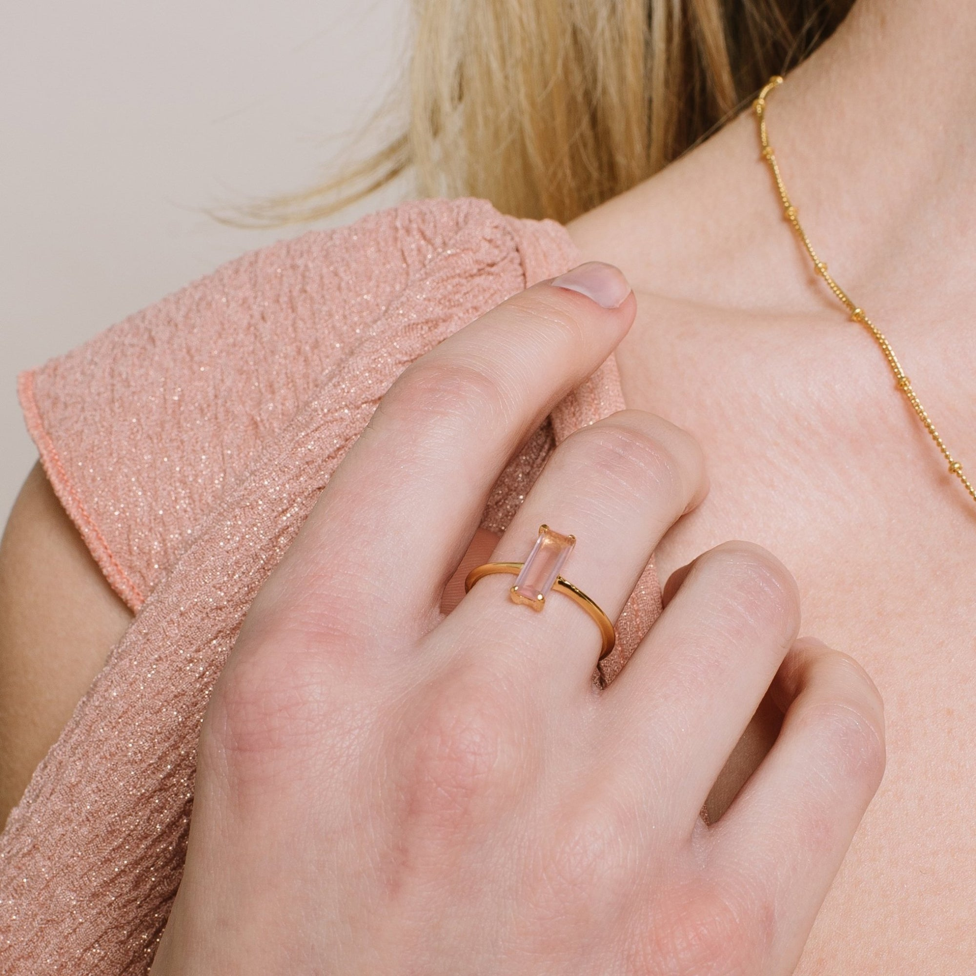 LOYAL RING PINK QUARTZ & GOLD- PREORDER - SO PRETTY CARA COTTER