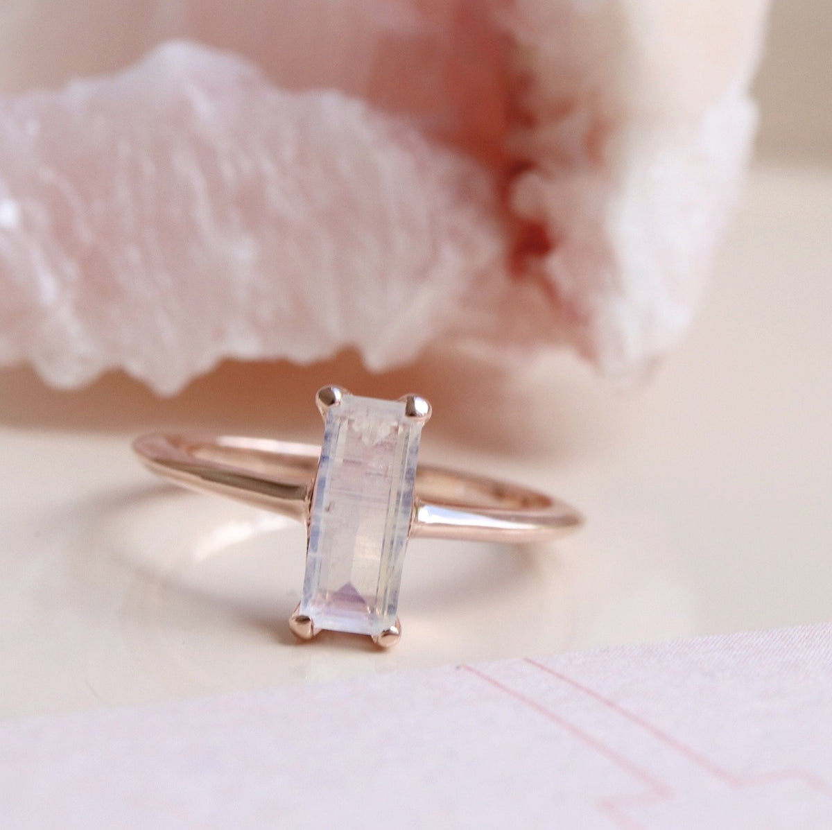 LOYAL RING RAINBOW MOONSTONE & ROSE GOLD - SO PRETTY CARA COTTER