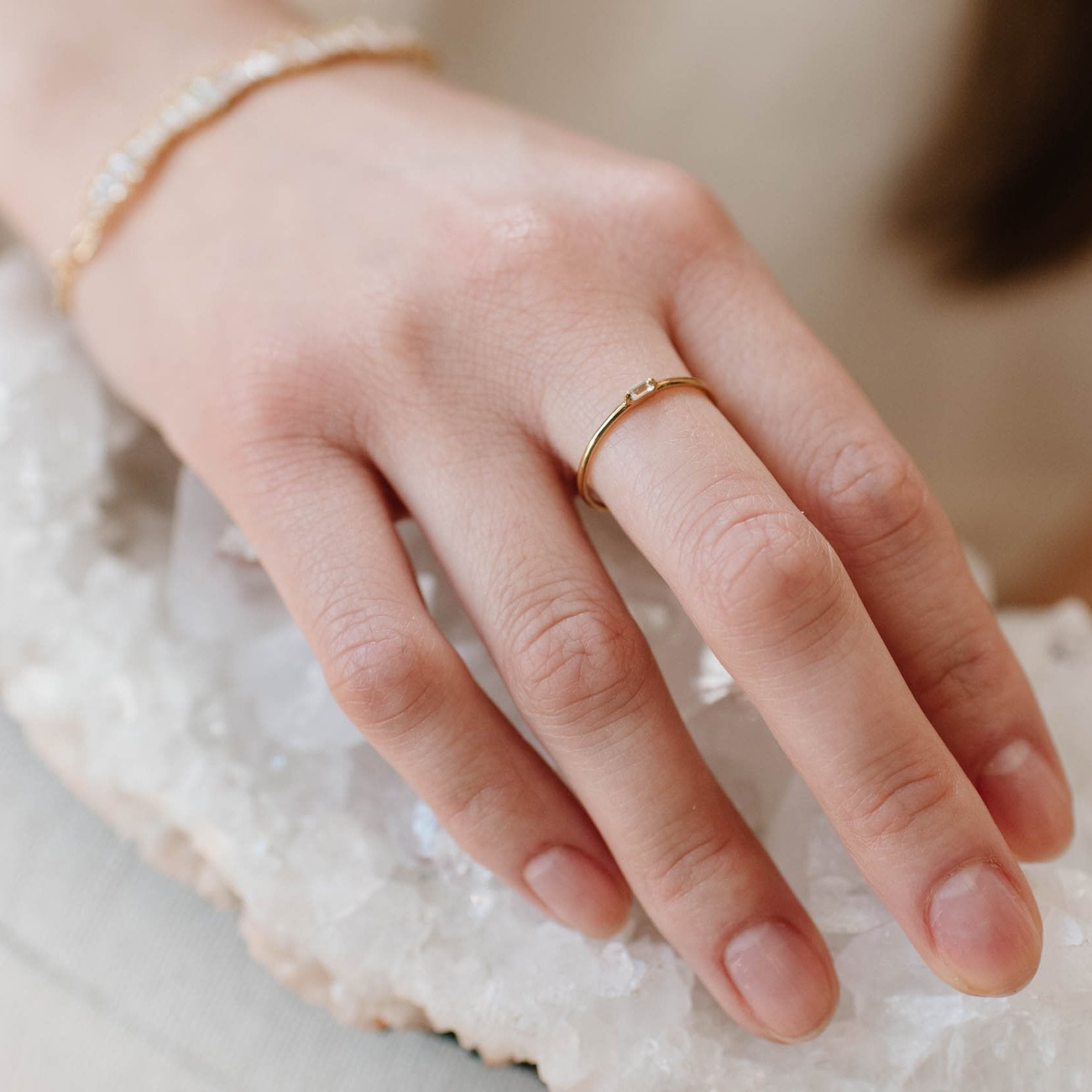 Loyal Solitaire Stacking Ring - White Topaz & Gold - SO PRETTY CARA COTTER