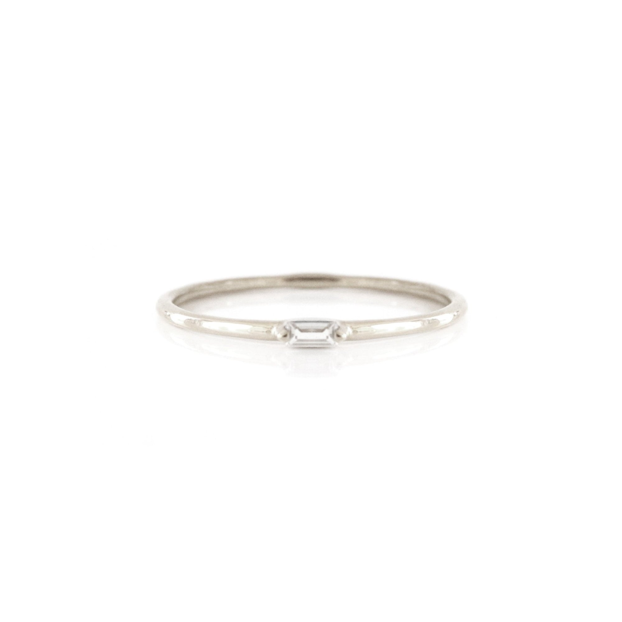 Loyal Solitaire Stacking Ring - White Topaz & Silver - SO PRETTY CARA COTTER