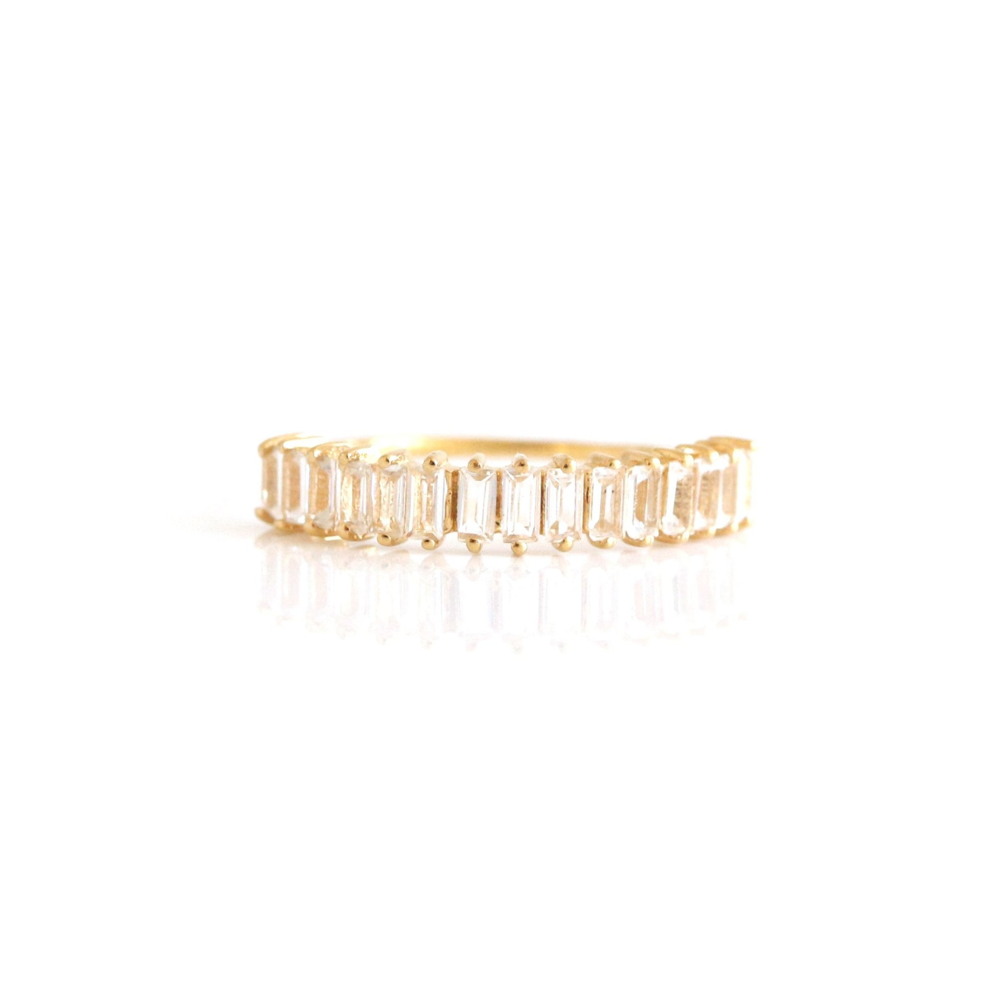 Loyal Stacked Baguette Ring - White Topaz & Gold - SO PRETTY CARA COTTER