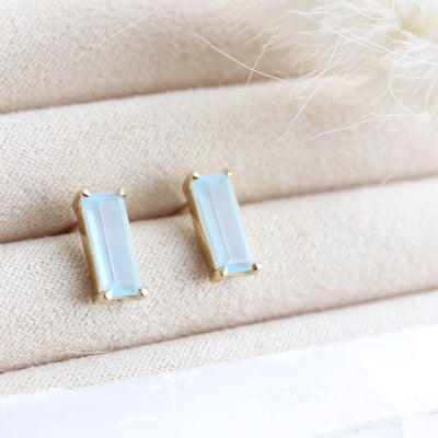 LOYAL STUD EARRINGS - AQUA CHALCEDONY & GOLD - SO PRETTY CARA COTTER