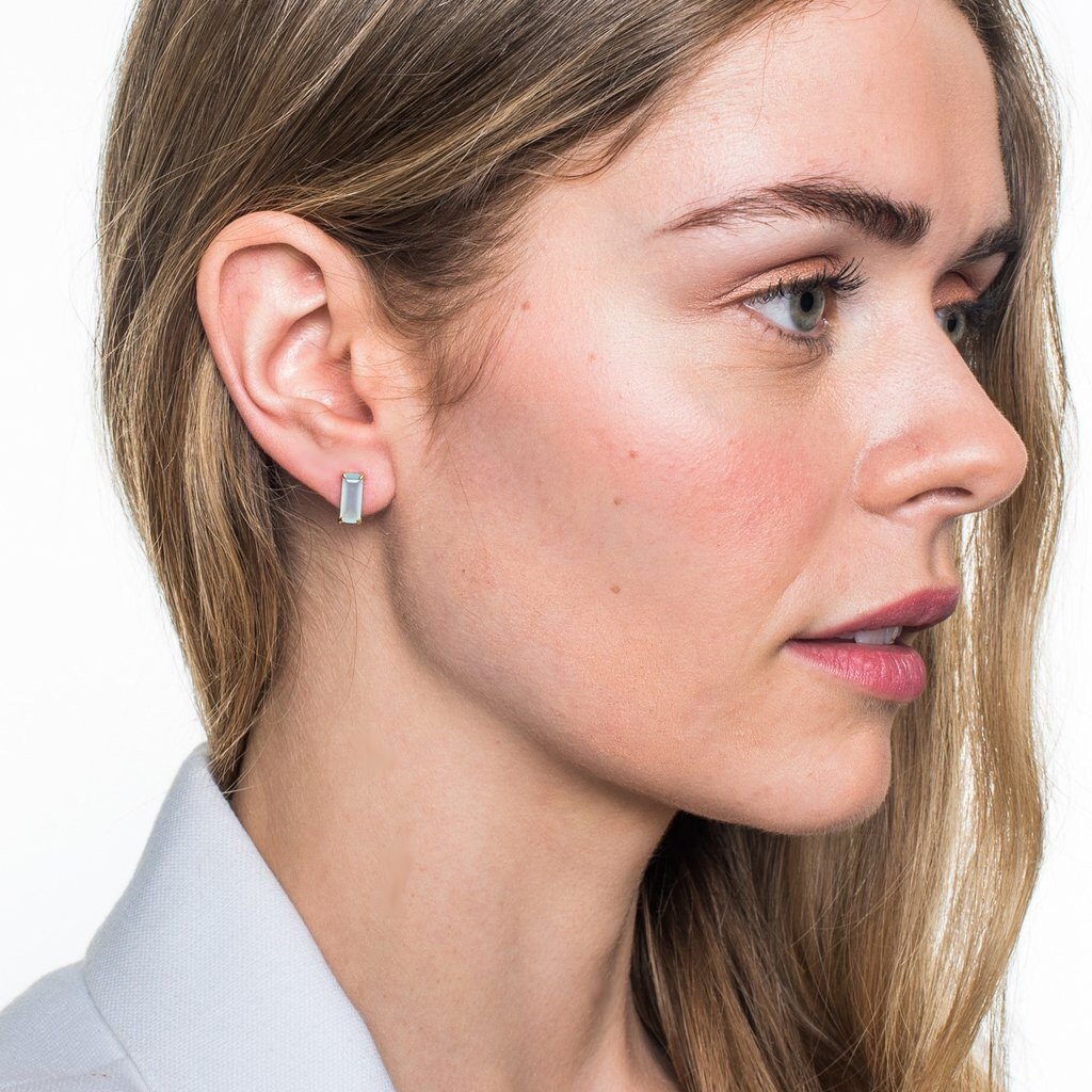 LOYAL STUD EARRINGS - GREY MOONSTONE & ROSE GOLD - SO PRETTY CARA COTTER