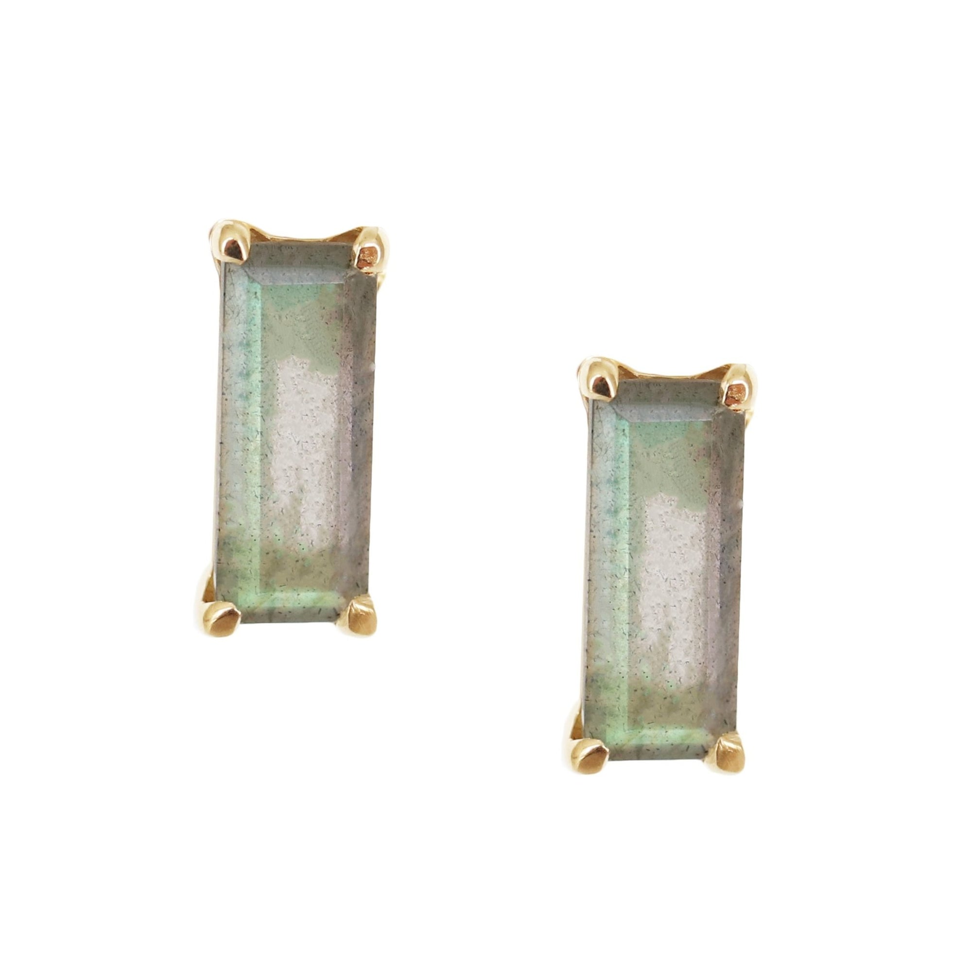 LOYAL STUD EARRINGS - LABRADORITE & GOLD - SO PRETTY CARA COTTER