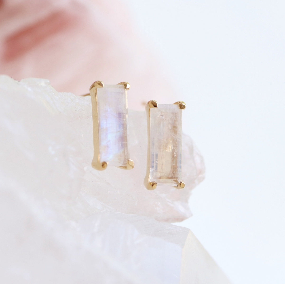 LOYAL STUD EARRINGS - RAINBOW MOONSTONE & GOLD - SO PRETTY CARA COTTER