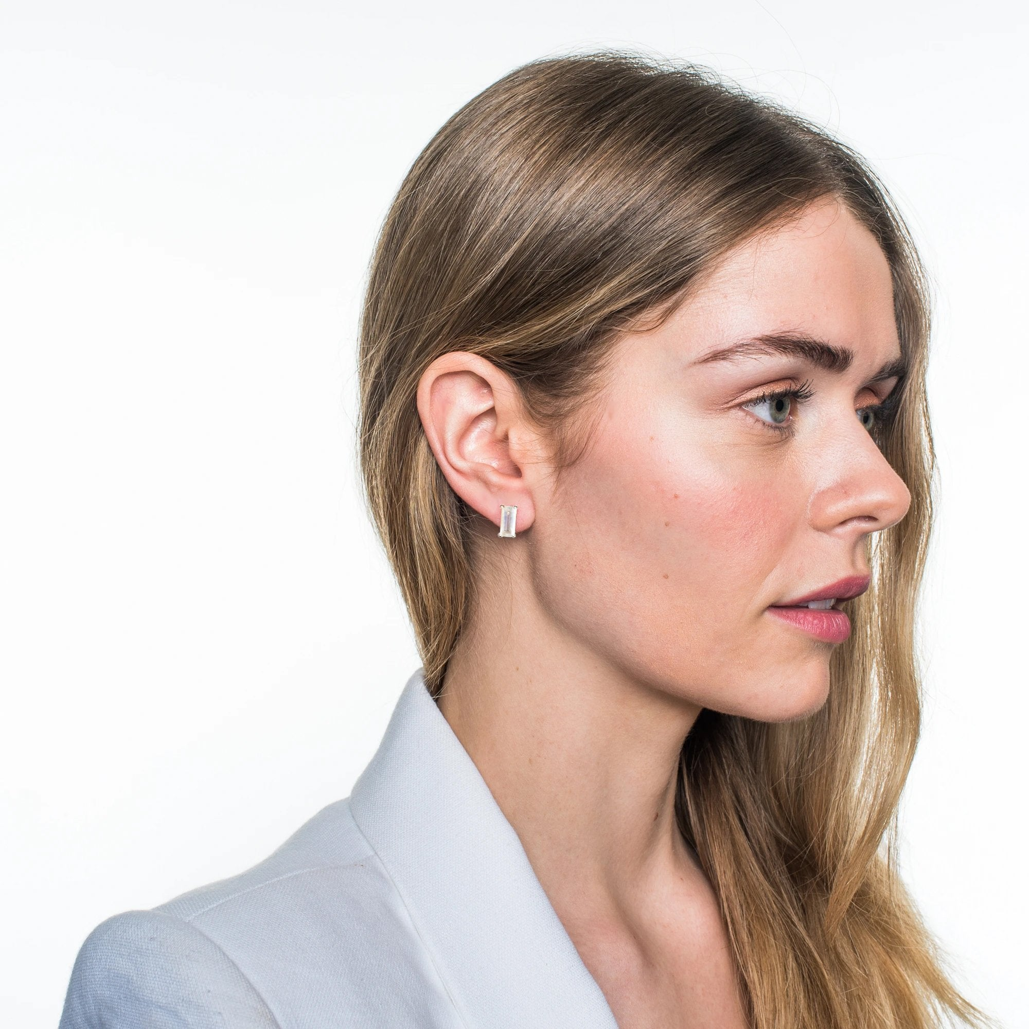 LOYAL STUD EARRINGS - RAINBOW MOONSTONE & SILVER - SO PRETTY CARA COTTER