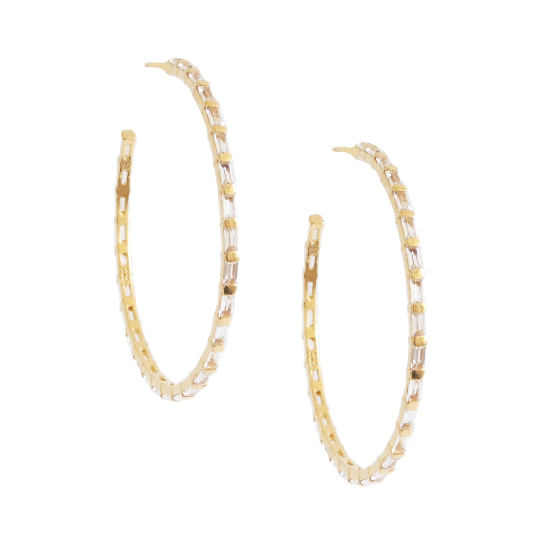 Loyal Studded Large Hoops - White Topaz & Gold - SO PRETTY CARA COTTER