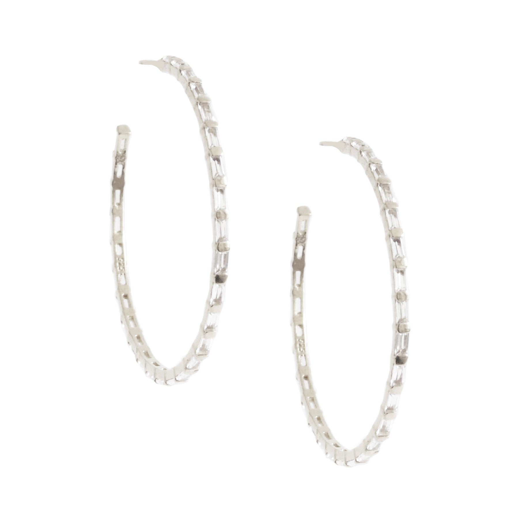 Loyal Studded Large Hoops - White Topaz & Silver - SO PRETTY CARA COTTER