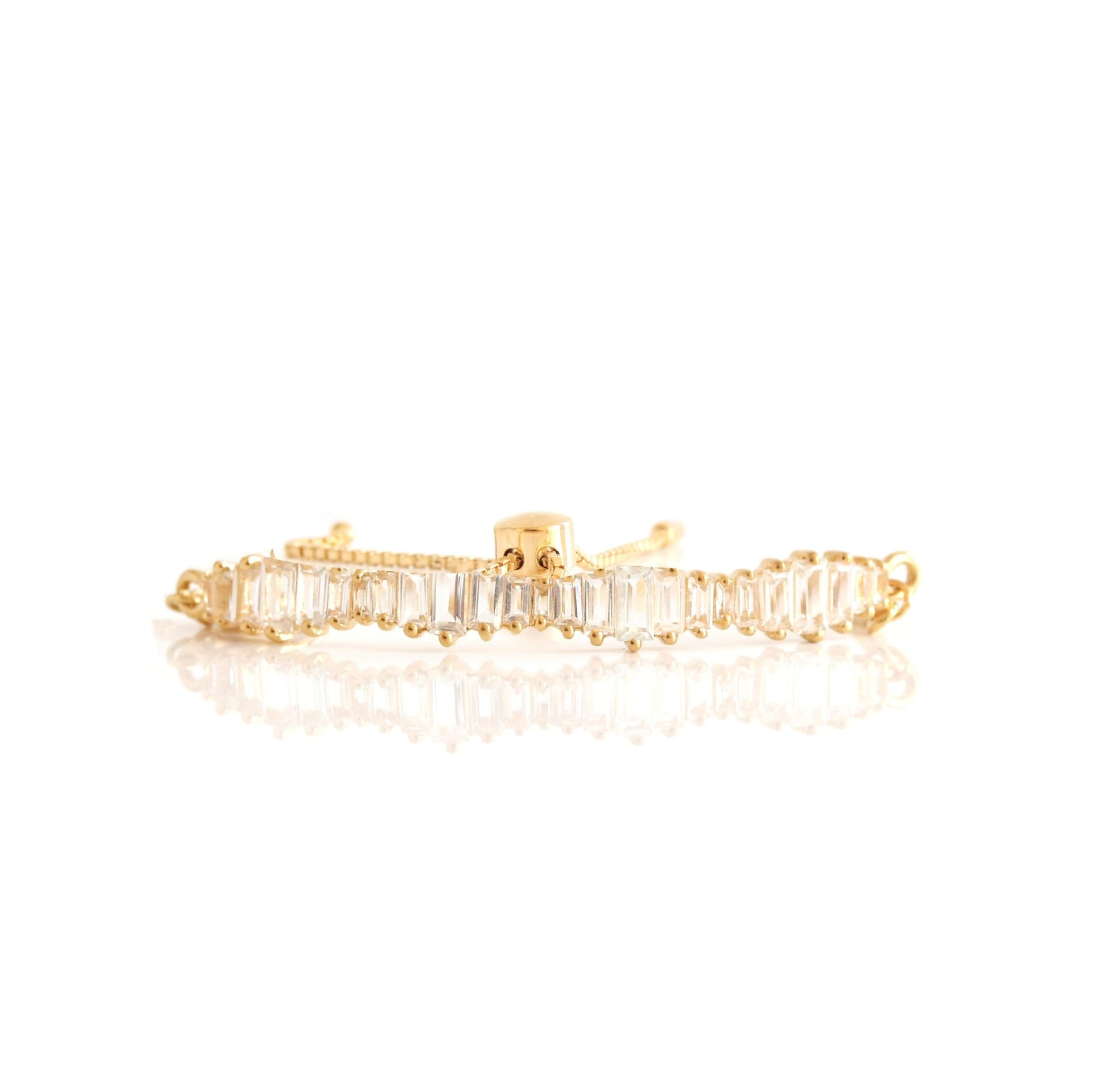 Loyal Waterfall Adjustable Bracelet - White Topaz & Gold - SO PRETTY CARA COTTER