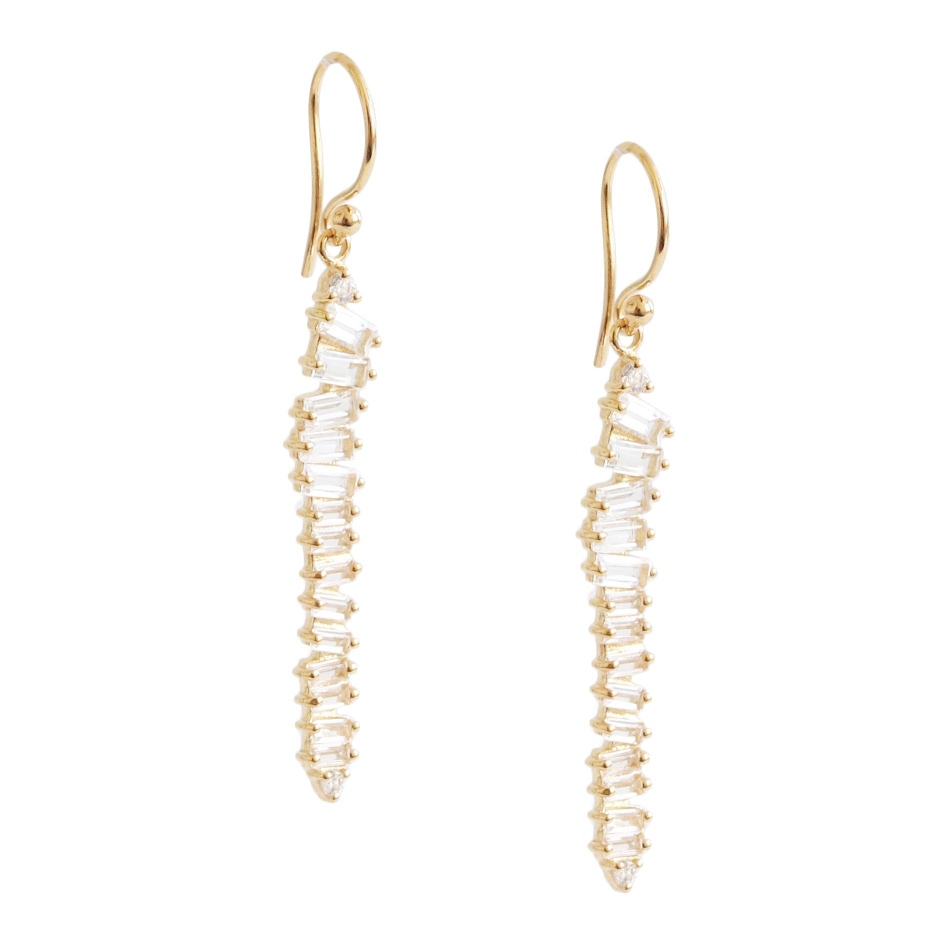 Loyal Waterfall Drop Earrings - White Topaz, Cubic Zirconia & Gold - SO PRETTY CARA COTTER