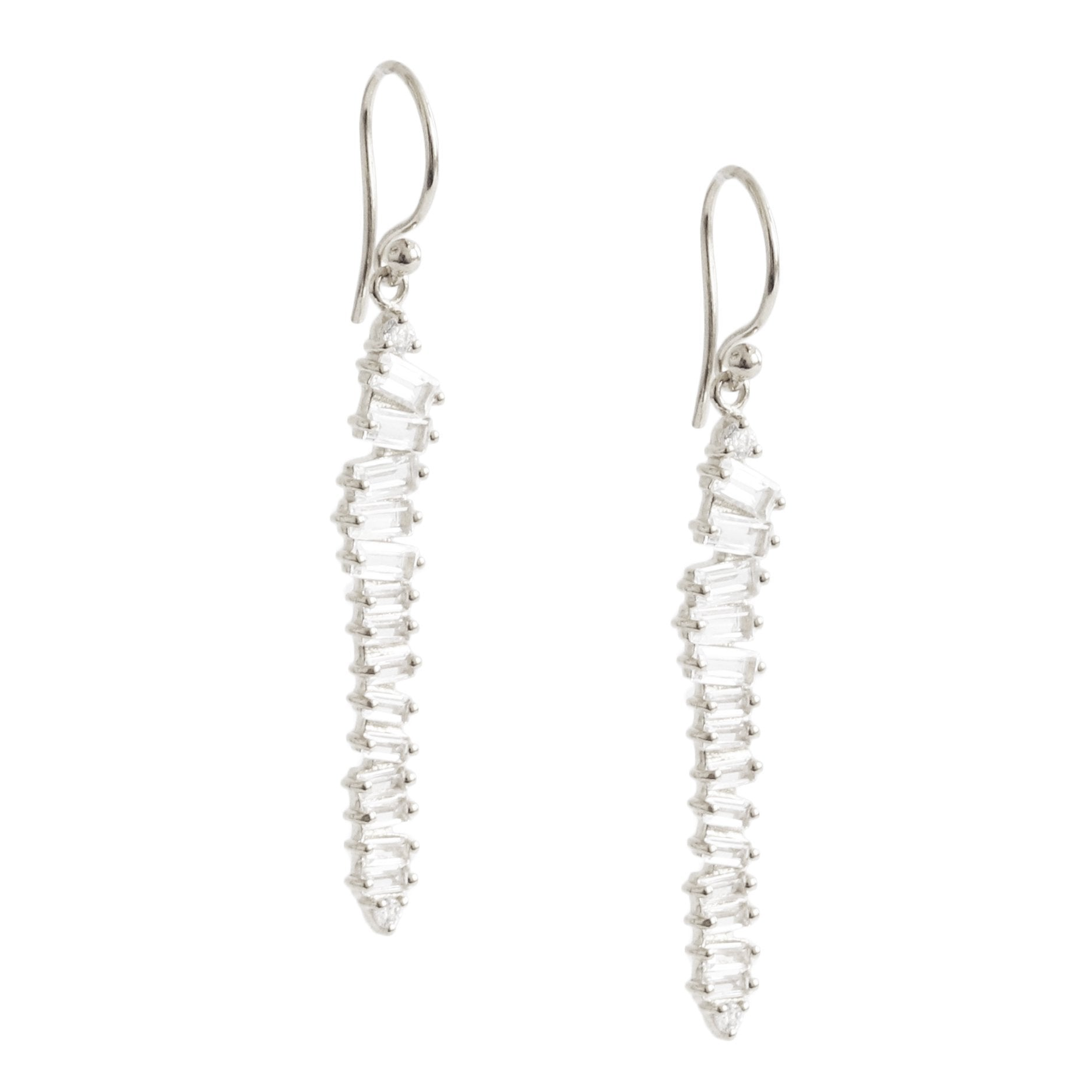 Loyal Waterfall Drop Earrings - White Topaz, Cubic Zirconia & Silver - SO PRETTY CARA COTTER