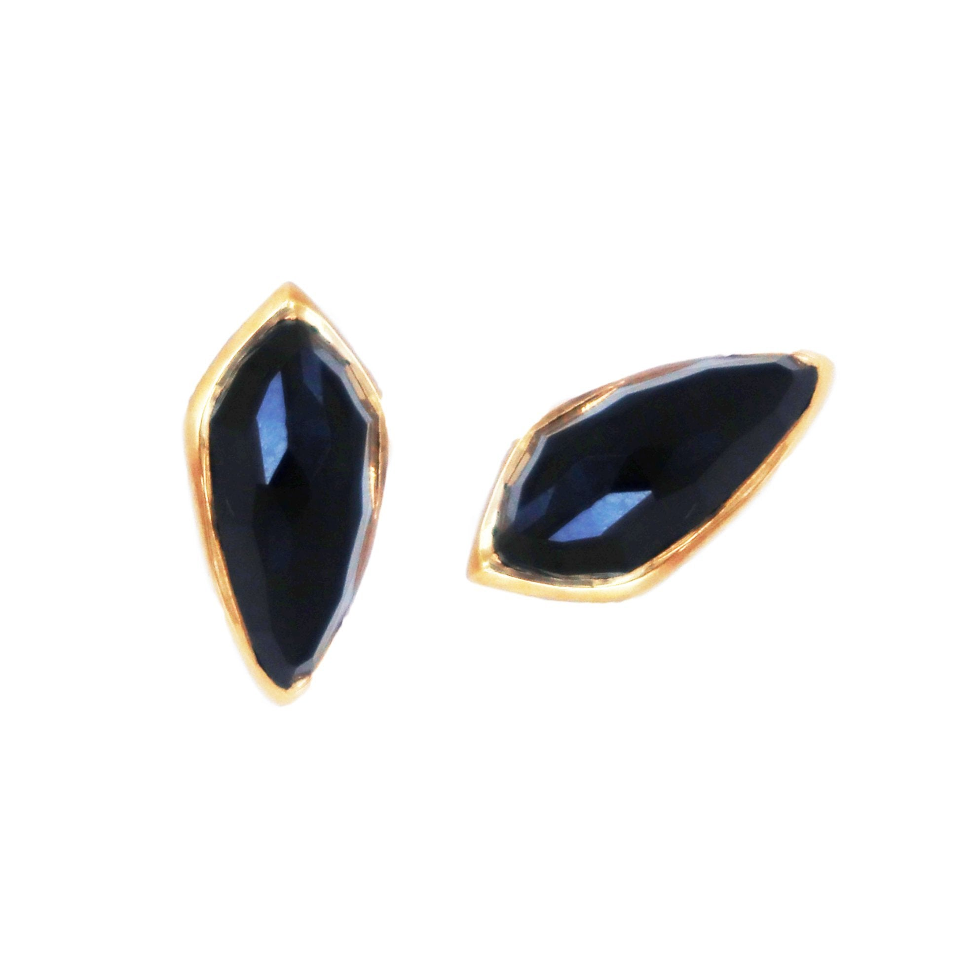 MIDI BRAVE STUD EARRINGS - BLACK ONYX & GOLD - SO PRETTY CARA COTTER
