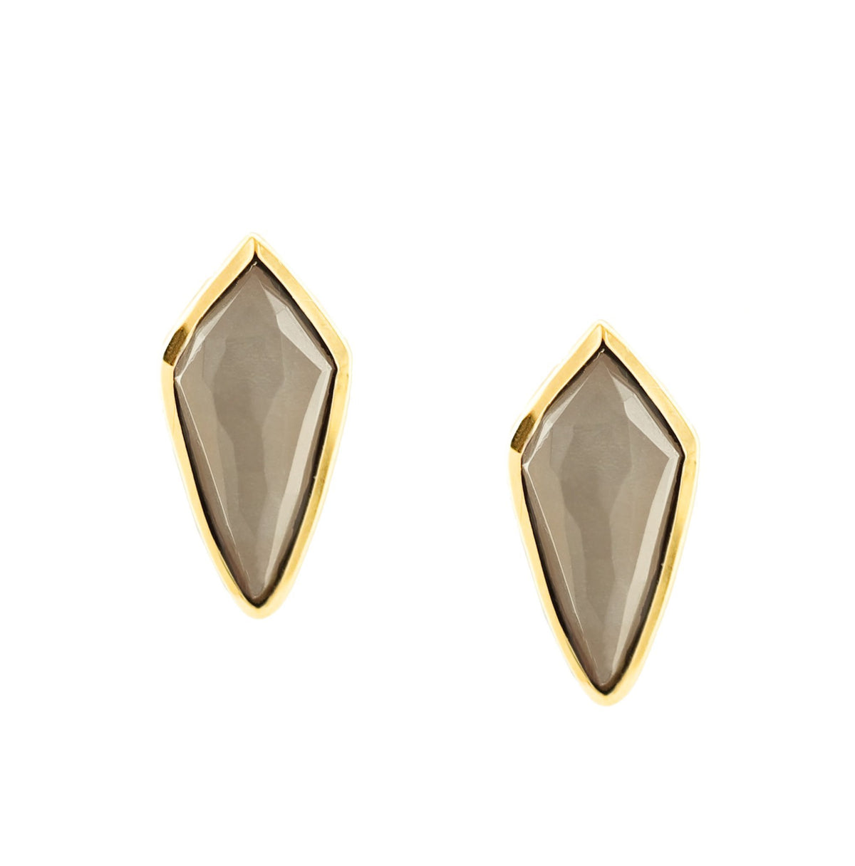 MIDI BRAVE STUD EARRINGS - CHAI MOONSTONE & GOLD - LIMITED EDITION - SO PRETTY CARA COTTER