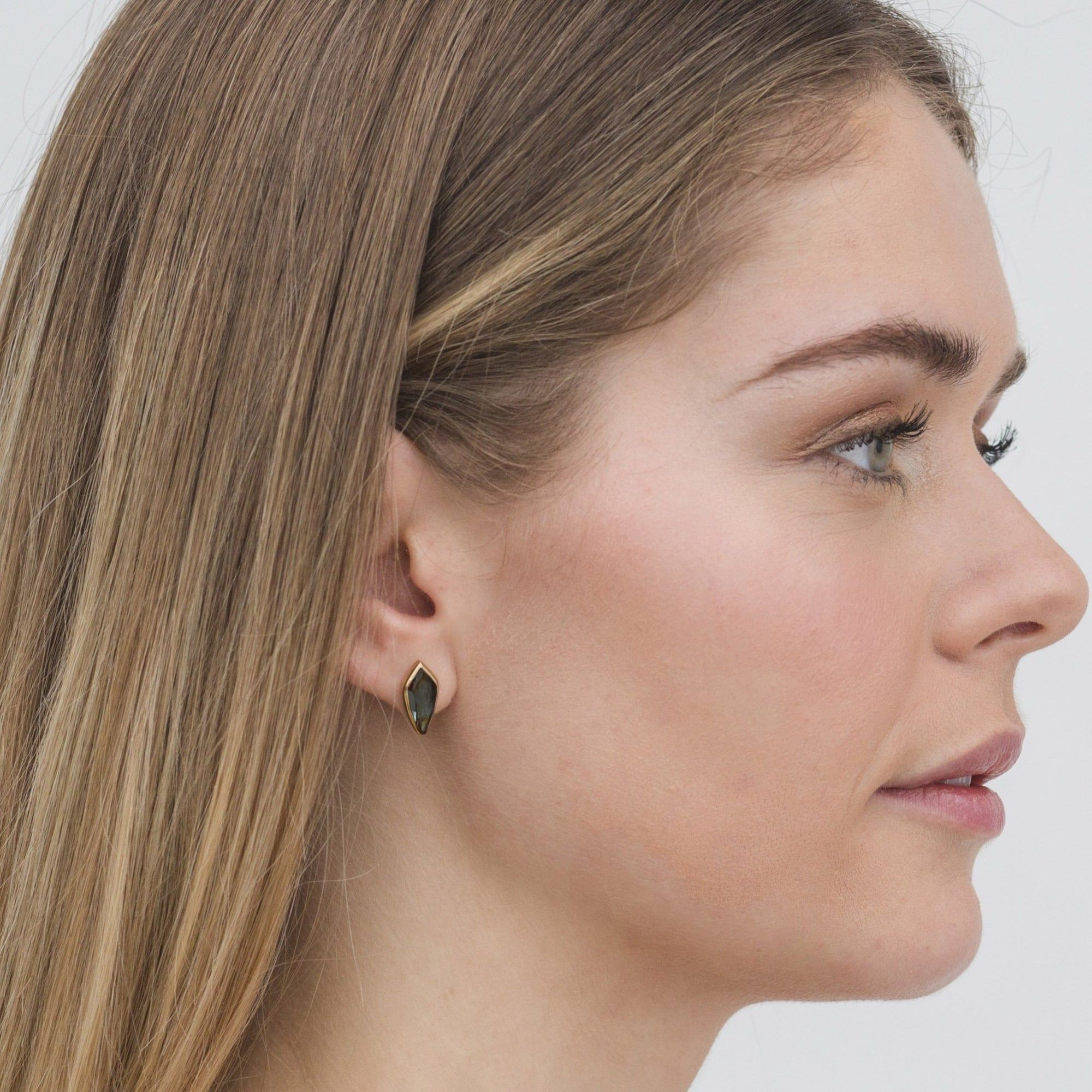 MIDI BRAVE STUD EARRINGS - LABRADORITE & GOLD - SO PRETTY CARA COTTER