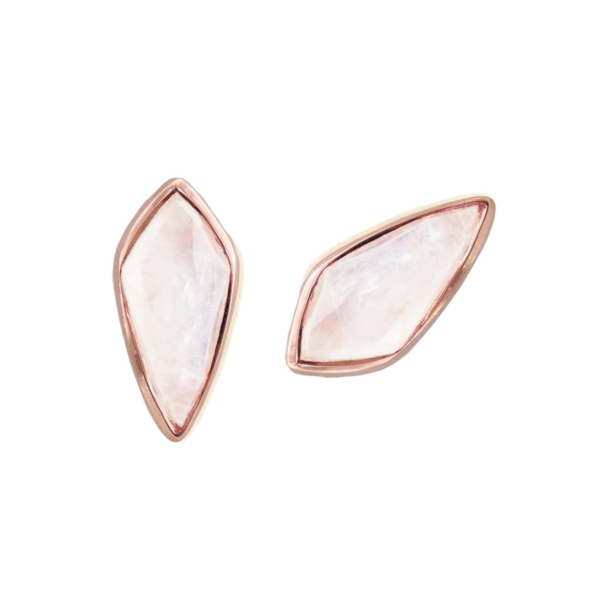 MIDI BRAVE STUD EARRINGS - RAINBOW MOONSTONE & ROSE GOLD - SO PRETTY CARA COTTER
