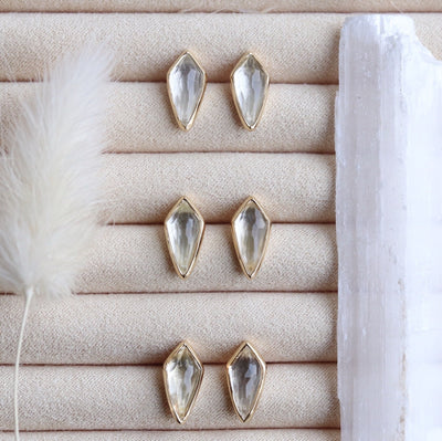 MIDI BRAVE STUD EARRINGS - WHITE TOPAZ & GOLD - SO PRETTY CARA COTTER