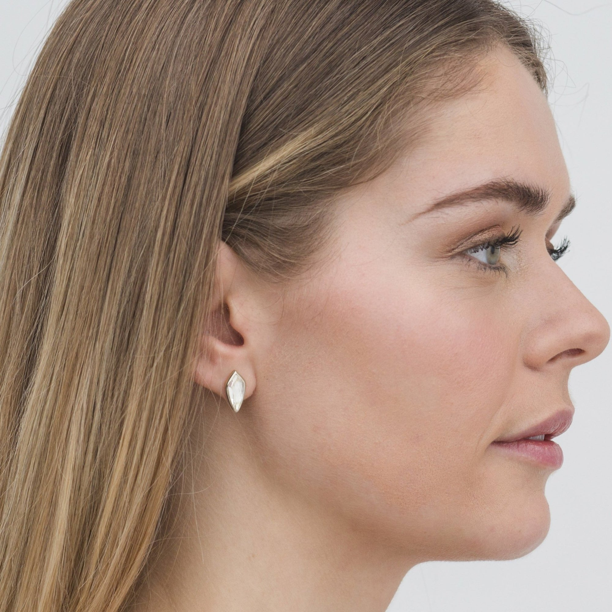 MIDI BRAVE STUD EARRINGS - WHITE TOPAZ & SILVER - SO PRETTY CARA COTTER
