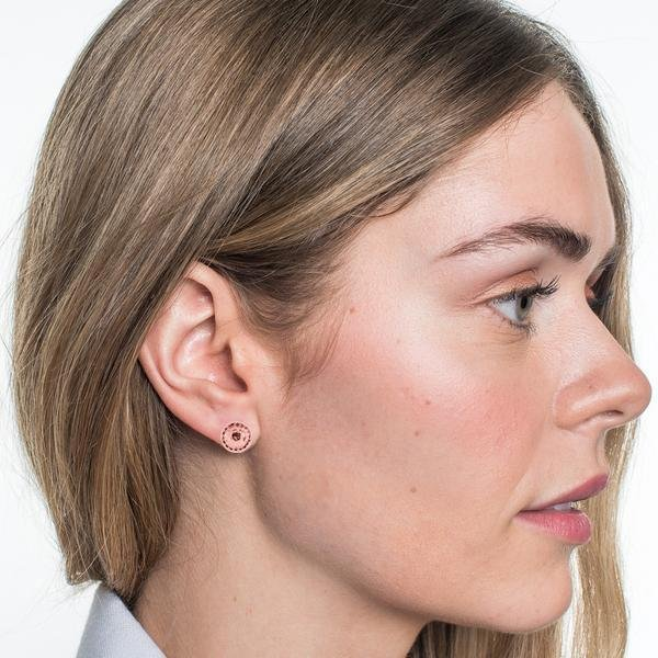 MINI ACCEPT METALLIC STUD EARRINGS - ROSE GOLD - SO PRETTY CARA COTTER