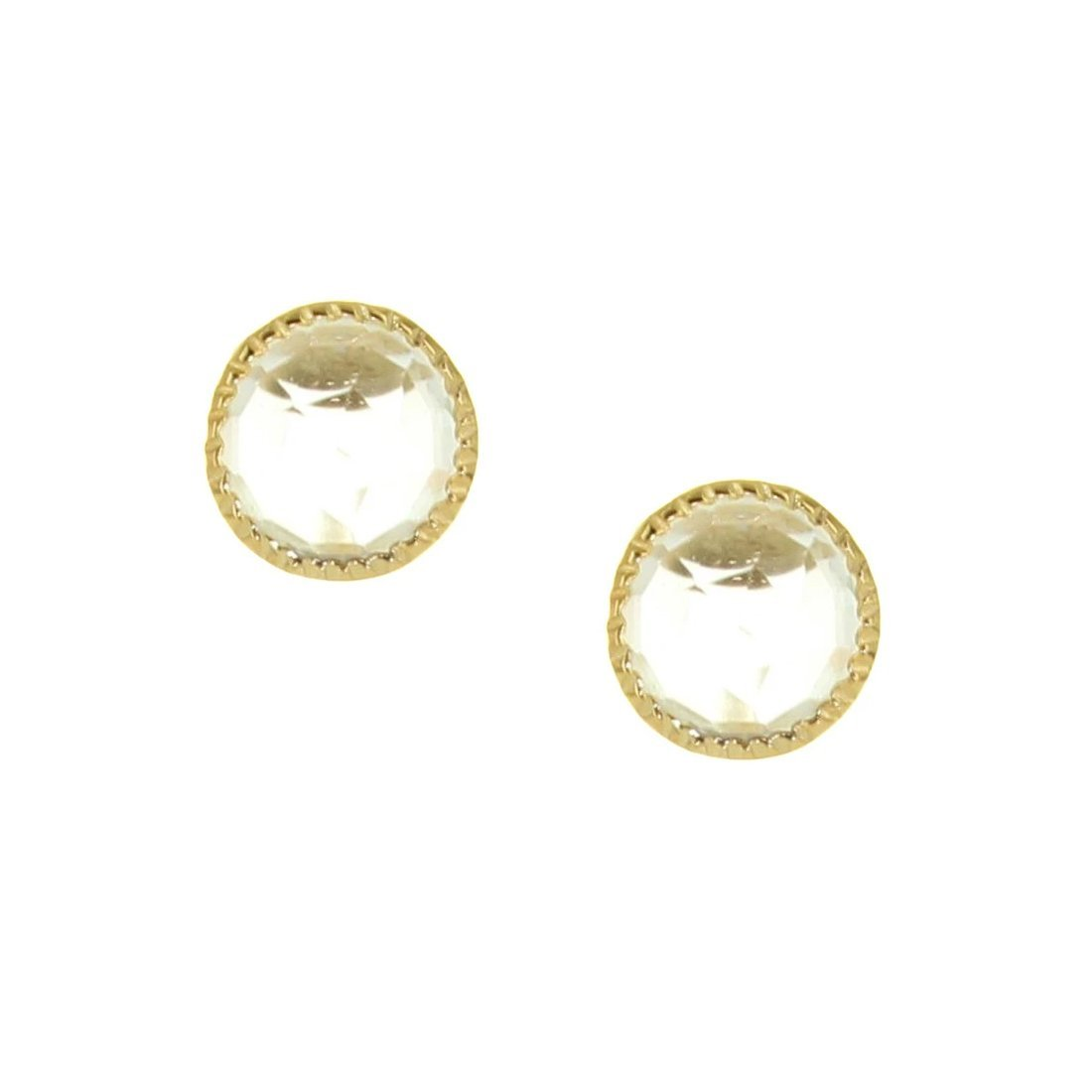 MINI ACCEPT STUD EARRINGS - WHITE TOPAZ & GOLD - SO PRETTY CARA COTTER