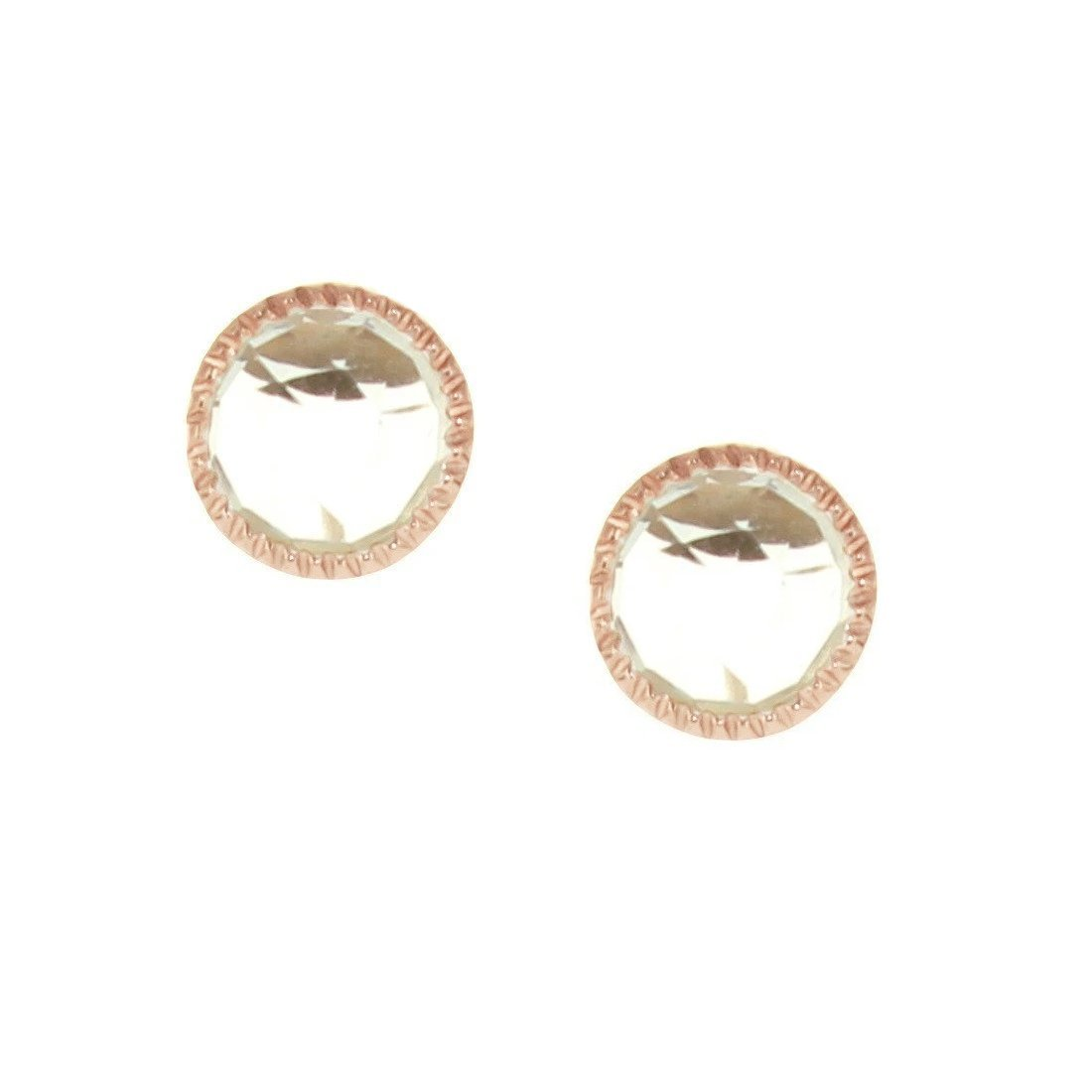 MINI ACCEPT STUD EARRINGS - WHITE TOPAZ & ROSE GOLD - SO PRETTY CARA COTTER