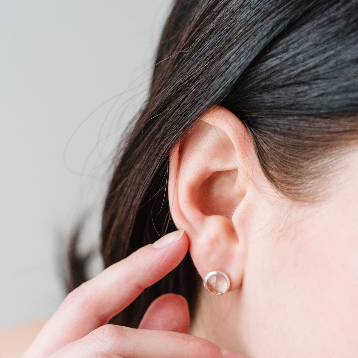 MINI ACCEPT STUD EARRINGS - WHITE TOPAZ & SILVER - SO PRETTY CARA COTTER