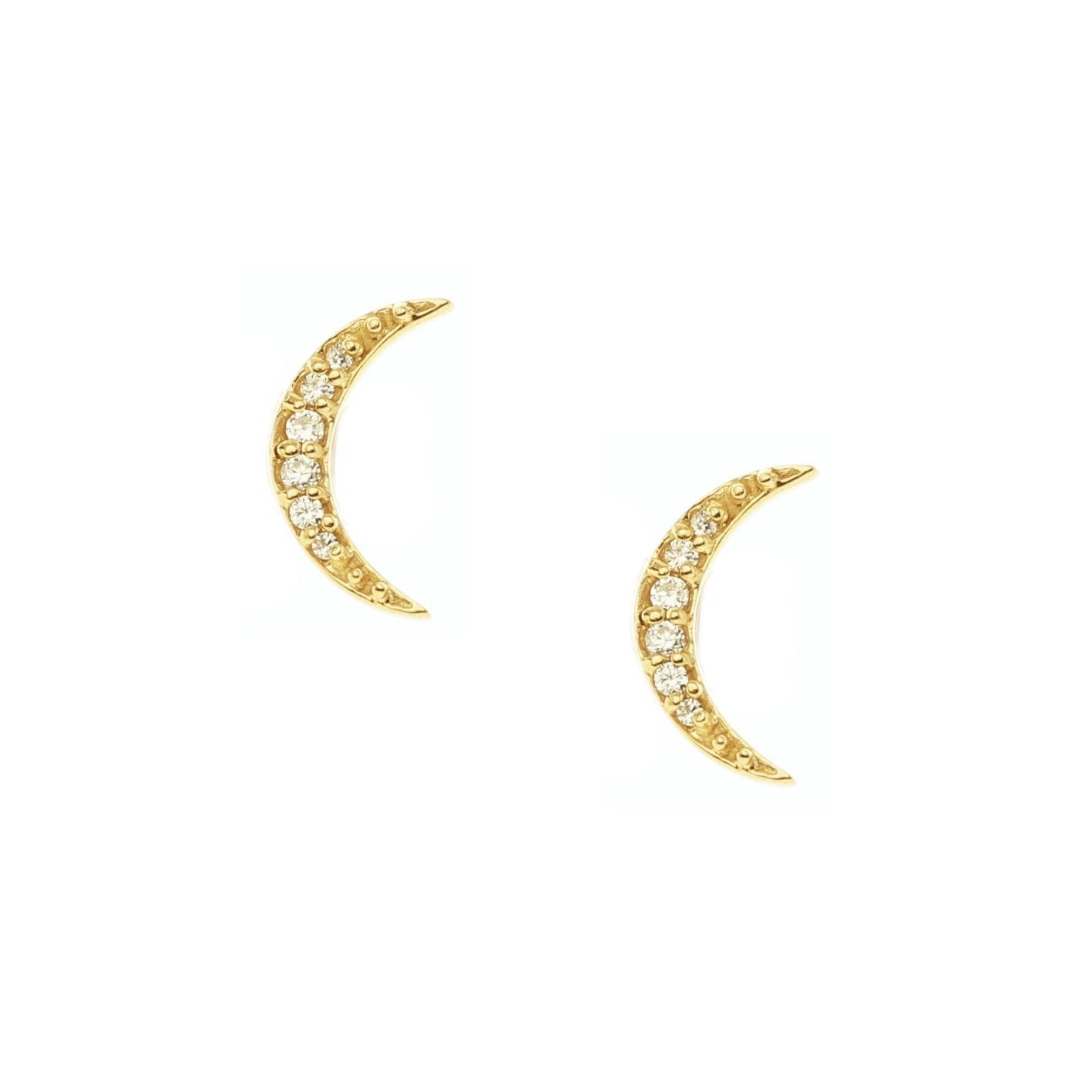 MINI DREAM LUNA STUDS - CUBIC ZIRCONIA & GOLD - SO PRETTY CARA COTTER