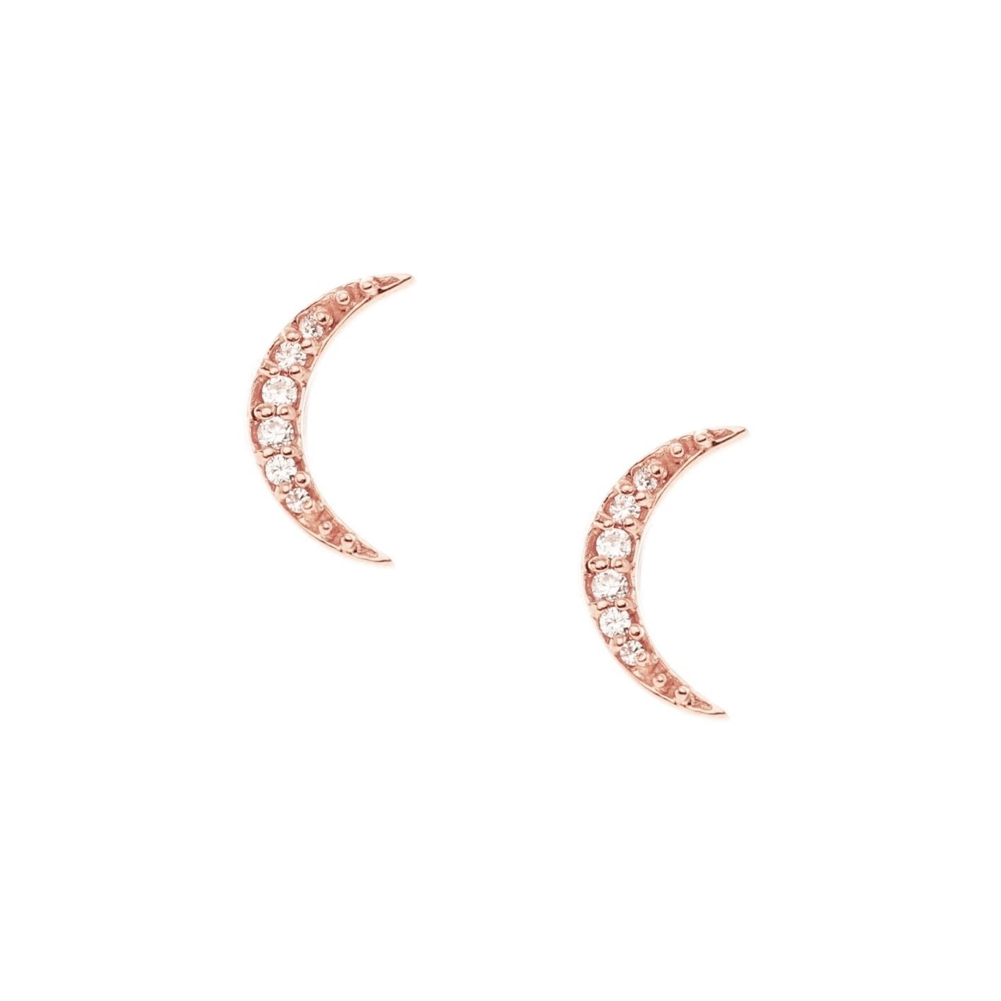 MINI DREAM LUNA STUDS - CUBIC ZIRCONIA & ROSE GOLD - SO PRETTY CARA COTTER