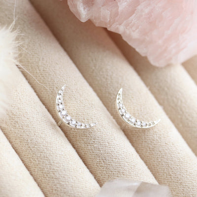 MINI DREAM LUNA STUDS - CUBIC ZIRCONIA & SILVER - SO PRETTY CARA COTTER