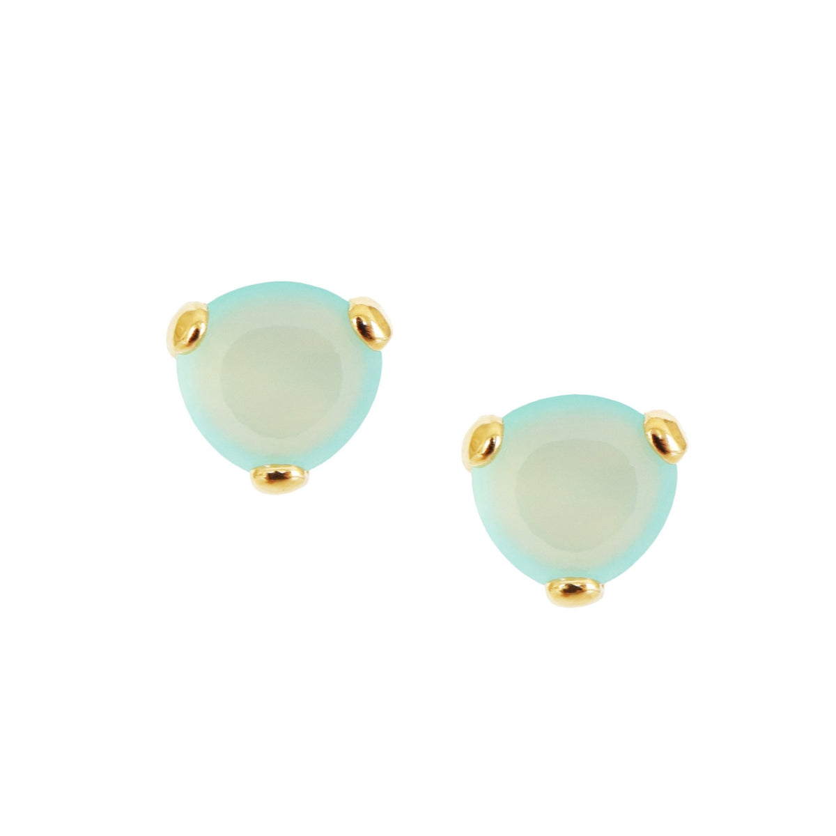 MINI FEARLESS STUDS - AQUA CHALCEDONY & GOLD - SO PRETTY CARA COTTER