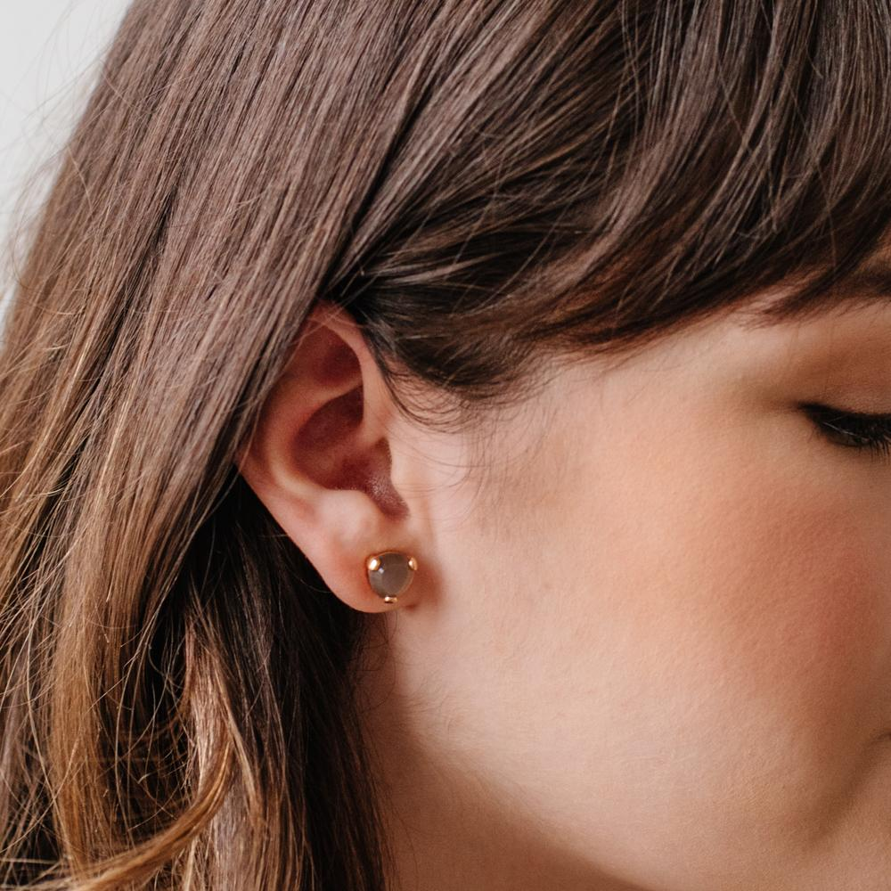 MINI FEARLESS STUDS - CHAI MOONSTONE & GOLD - SO PRETTY CARA COTTER