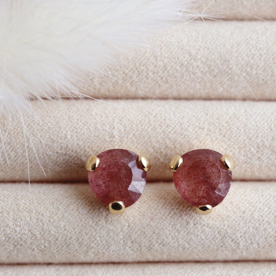 MINI FEARLESS STUDS - CRANBERRY QUARTZ & GOLD - SO PRETTY CARA COTTER