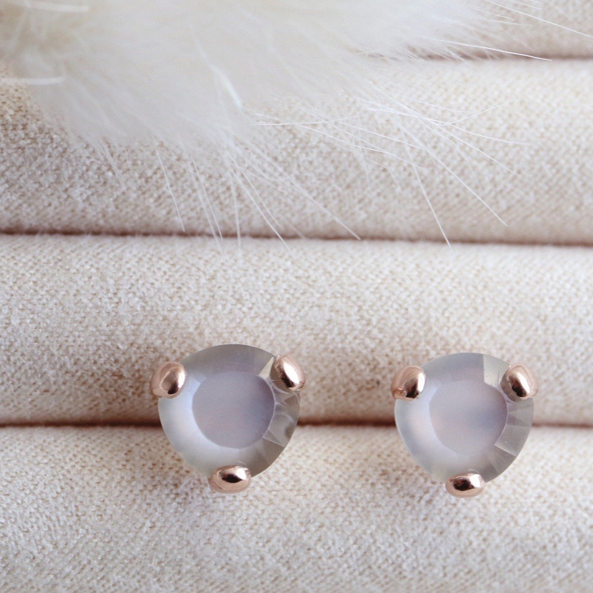 MINI FEARLESS STUDS - GREY MOONSTONE & ROSE GOLD - SO PRETTY CARA COTTER