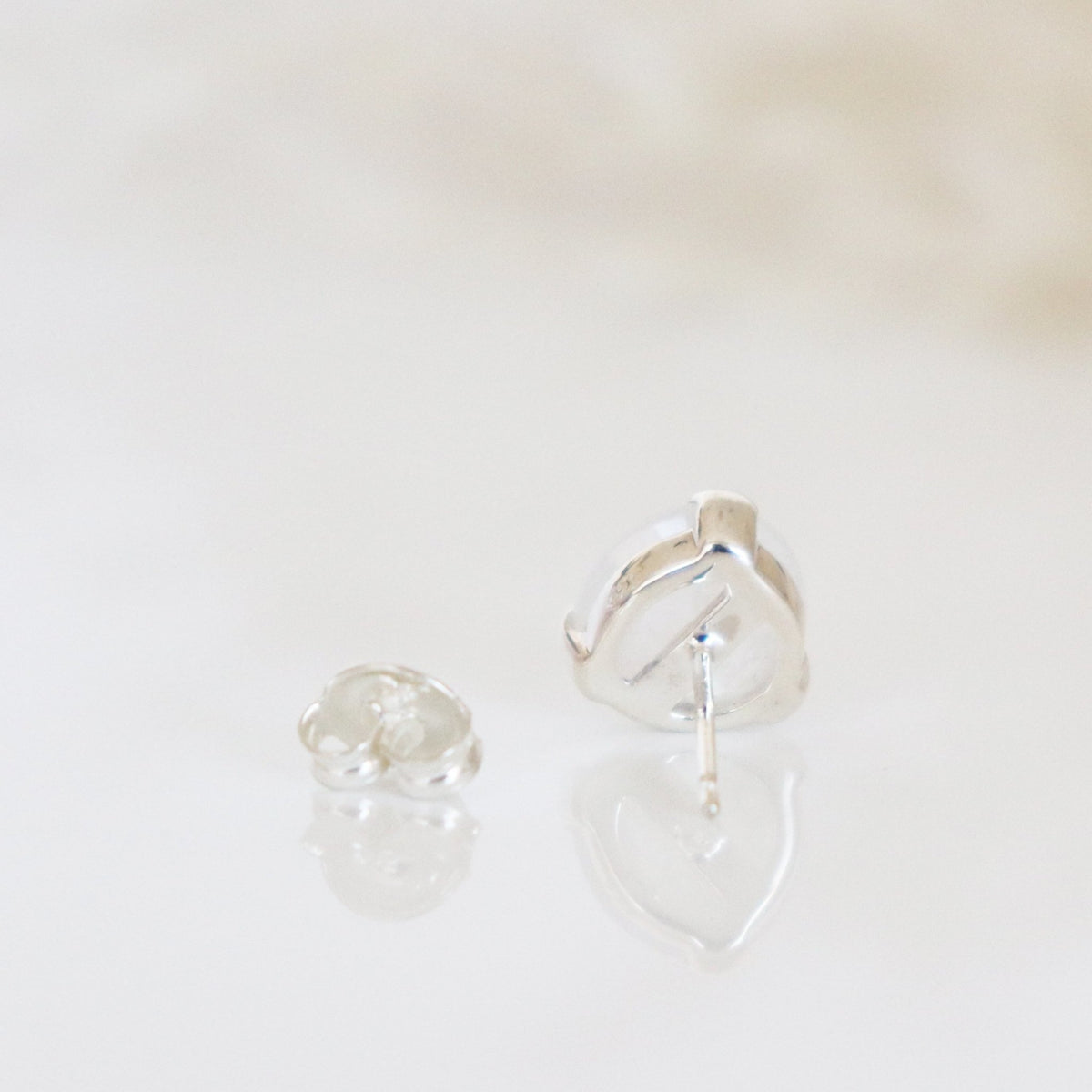 MINI FEARLESS STUDS - RAINBOW MOONSTONE & SILVER - SO PRETTY CARA COTTER
