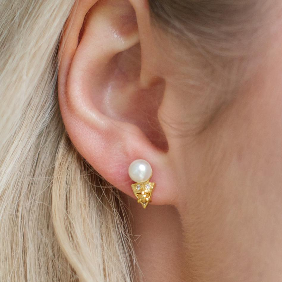 MINI FIERCE STUD EARRINGS - FRESHWATER PEARL, CUBIC ZIRCONIA & GOLD - SO PRETTY CARA COTTER