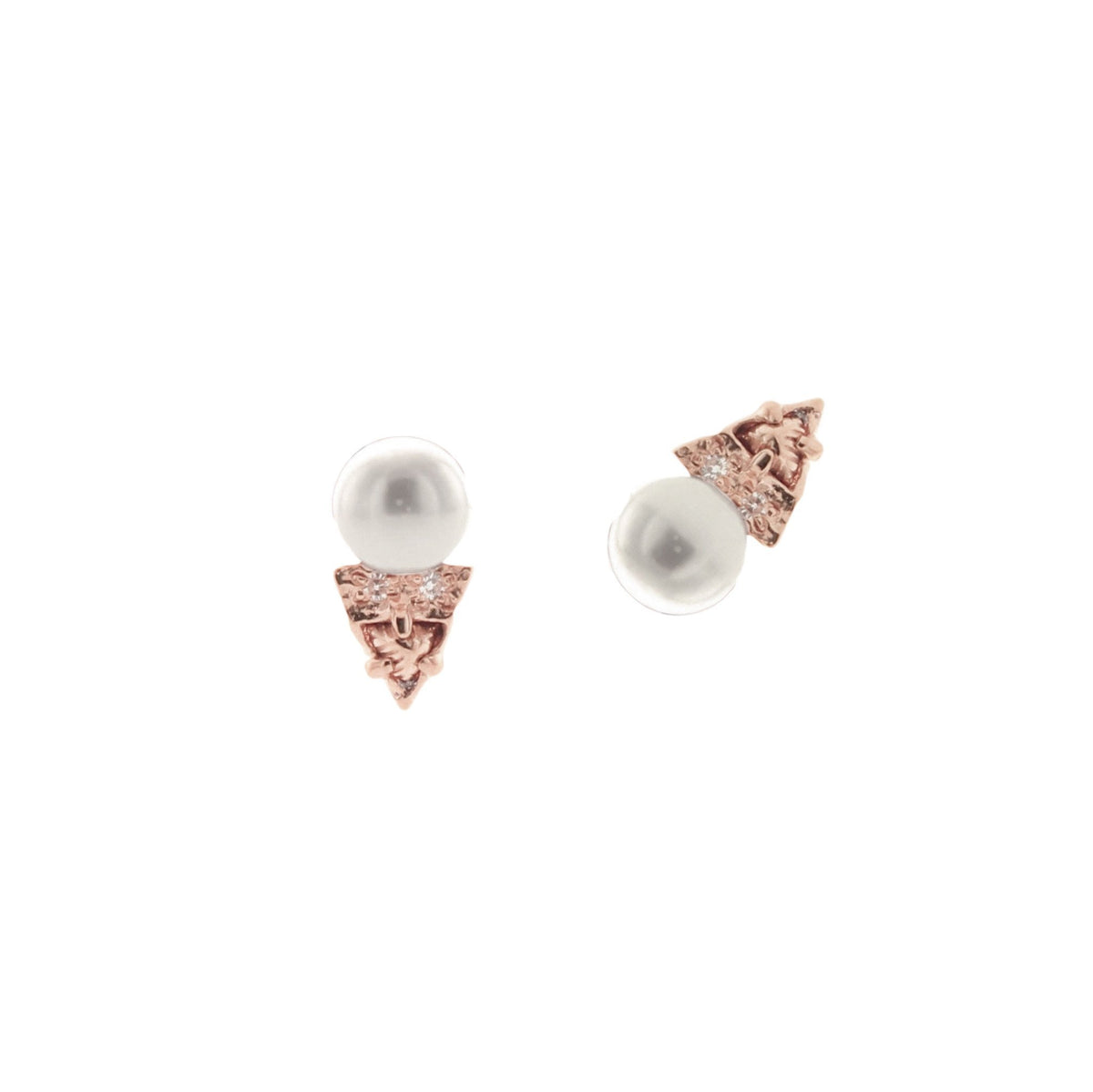 MINI FIERCE STUD EARRINGS - FRESHWATER PEARL, CUBIC ZIRCONIA & ROSE GOLD - SO PRETTY CARA COTTER