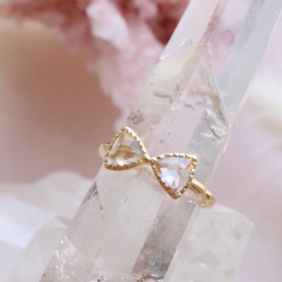 MINI FREEDOM BOW TIE RING - WHITE TOPAZ & GOLD - SO PRETTY CARA COTTER