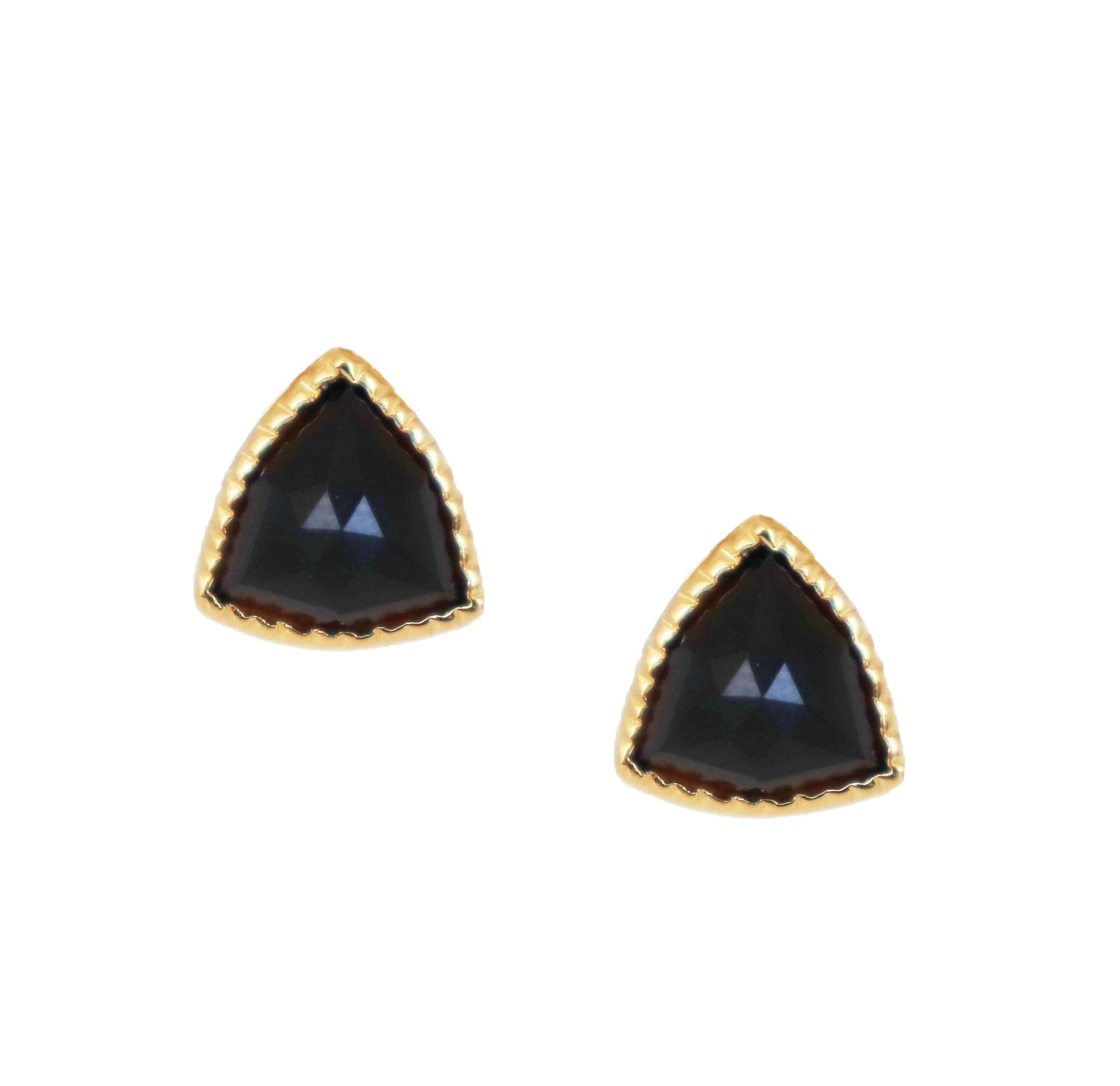 MINI FREEDOM STUD EARRINGS - BLACK ONYX & GOLD - SO PRETTY CARA COTTER