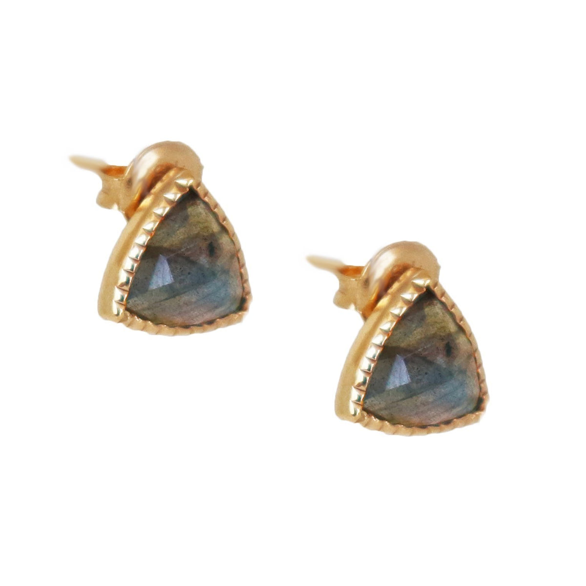 MINI FREEDOM STUD EARRINGS - LABRADORITE & GOLD - SO PRETTY CARA COTTER