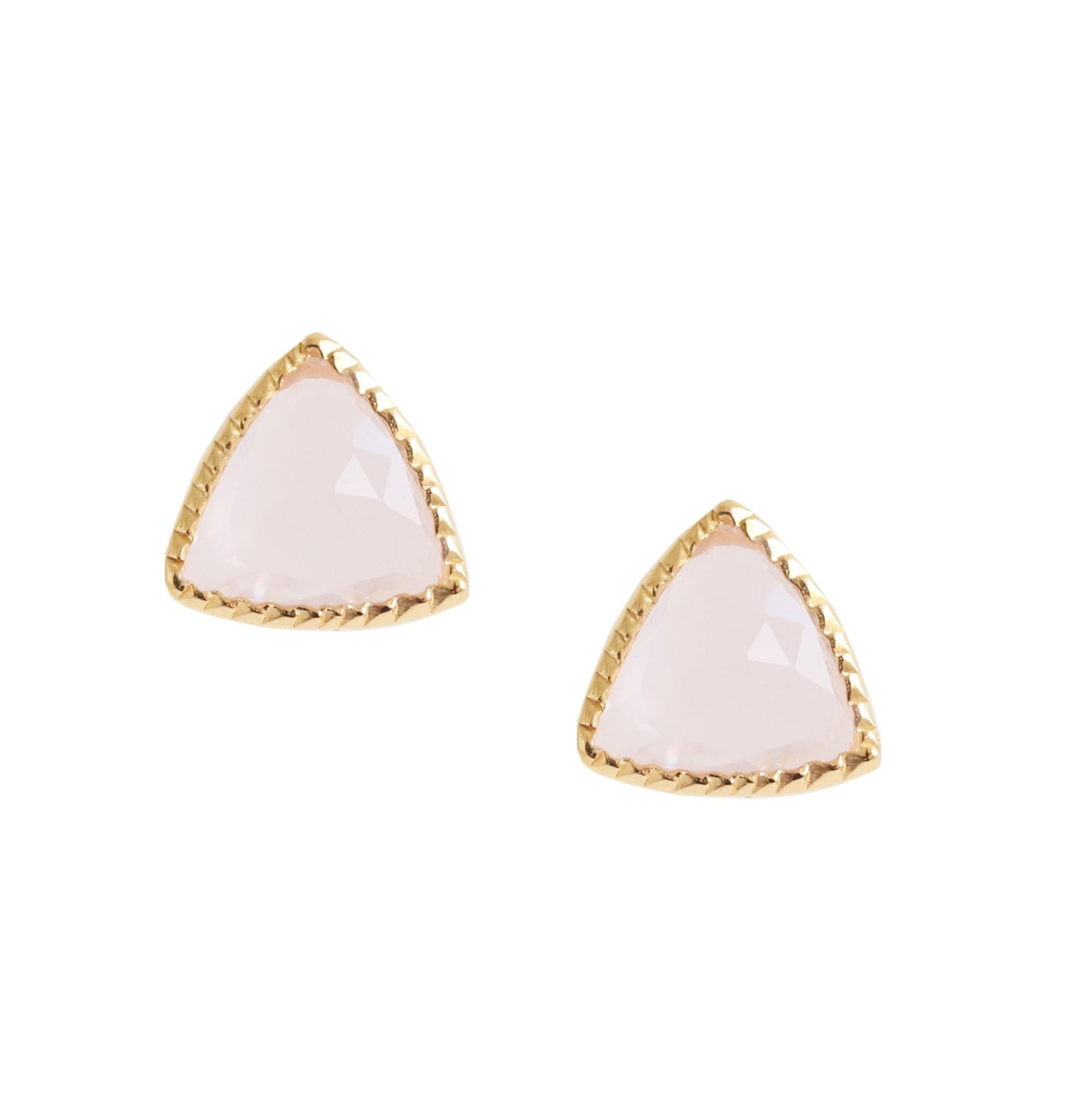 MINI FREEDOM STUD EARRINGS - PINK QUARTZ & GOLD - SO PRETTY CARA COTTER