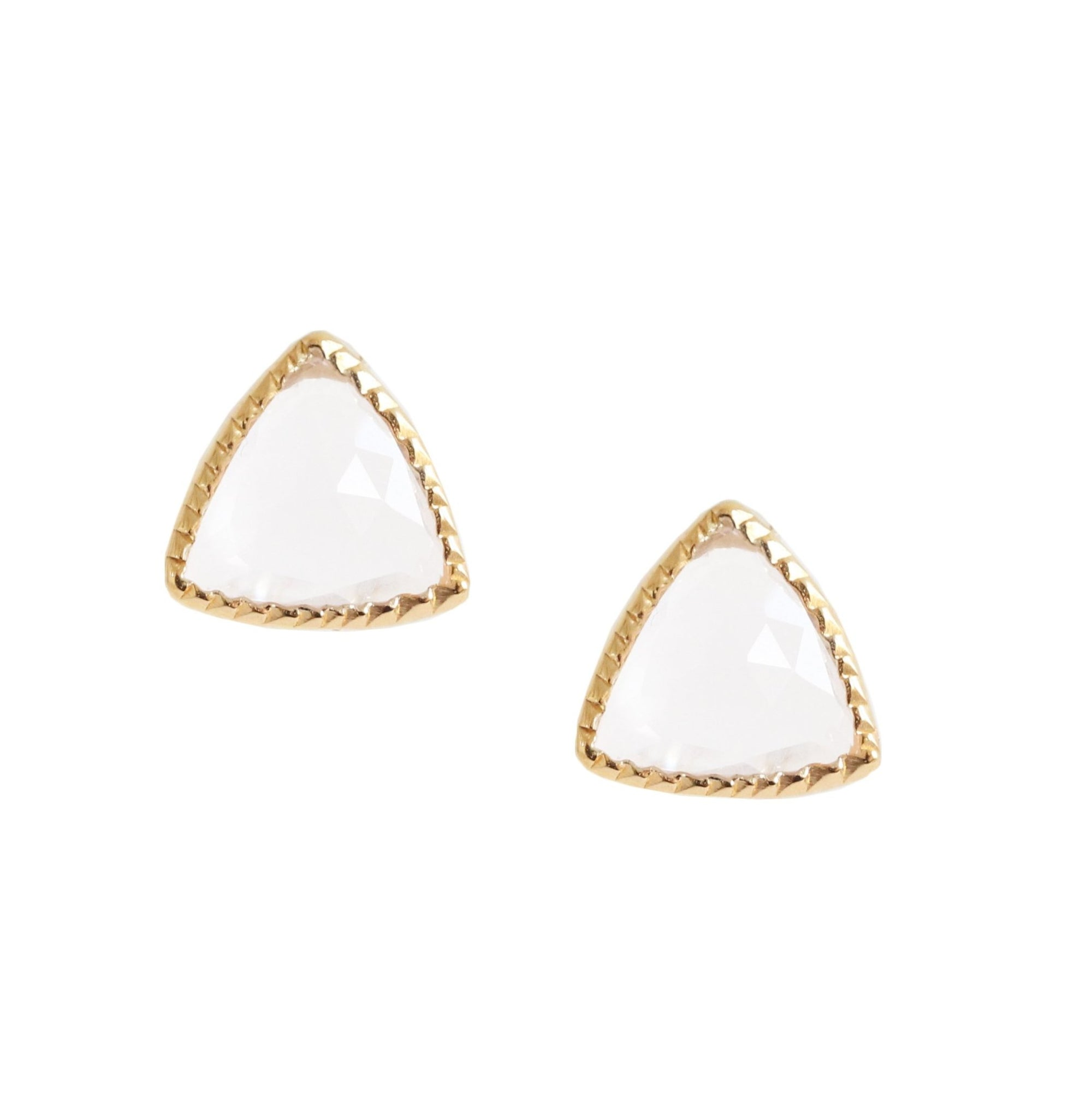 MINI FREEDOM STUD EARRINGS - WHITE TOPAZ & GOLD - SO PRETTY CARA COTTER